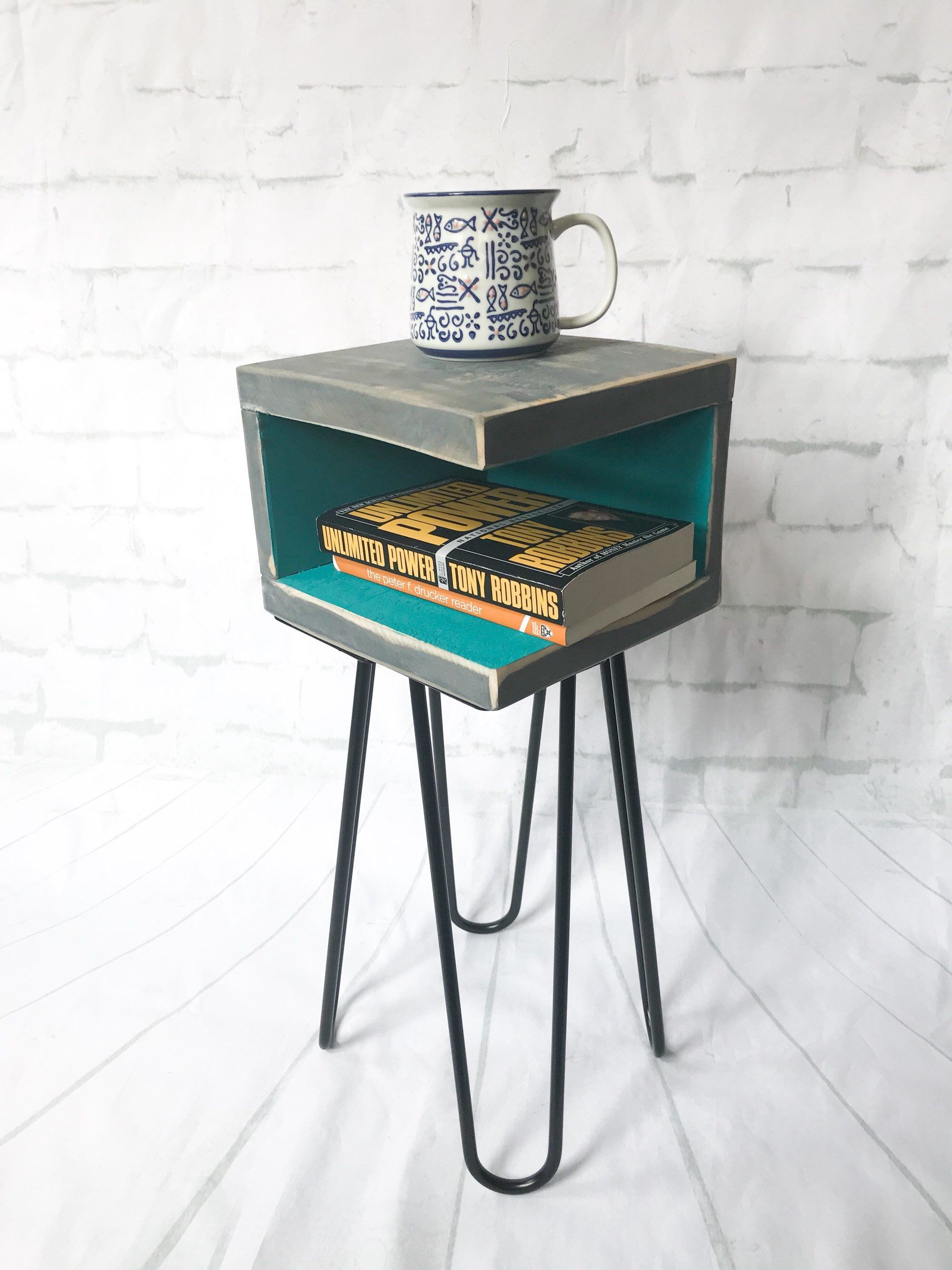 handmade nightstand modern mid century rustic retro small teal blue accent table side end tables midcentury hairpin distressed reclaimed pier one chairs clearance dining room