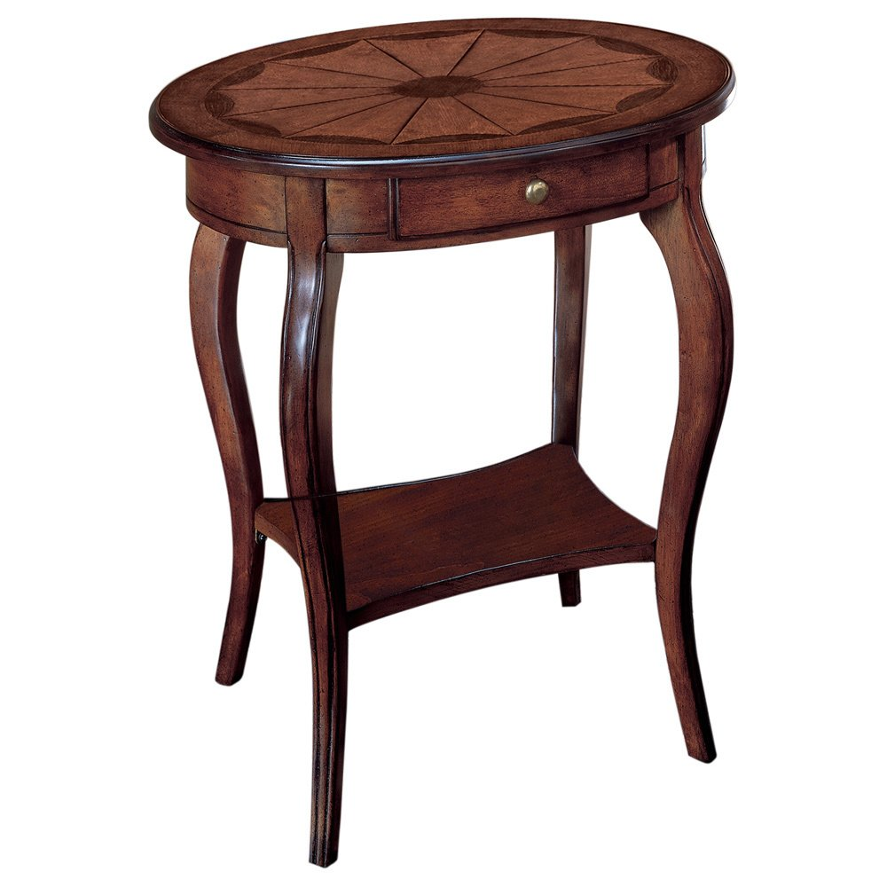handmade oval end table with wood inlay accent handcrafted free shipping today ikea fabric storage pier one coupon code laminate floor beading butler specialty console furniture