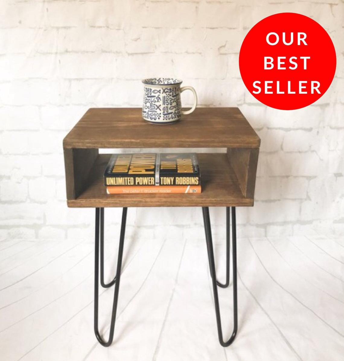handmade real wood nightstand side table mid century etsy hairpin leg accent and glass coffee round teak dining whole tablecloths for weddings home decor ornaments large concrete
