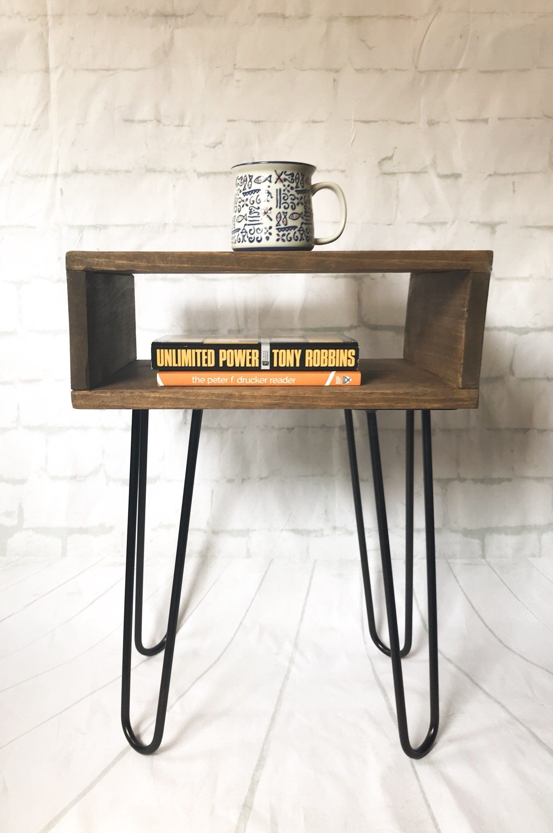 handmade real wood nightstand side table mid century modern hairpin leg accent excited share the latest addition etsy rustic walnut bookshelf sitting legs industrial chinese