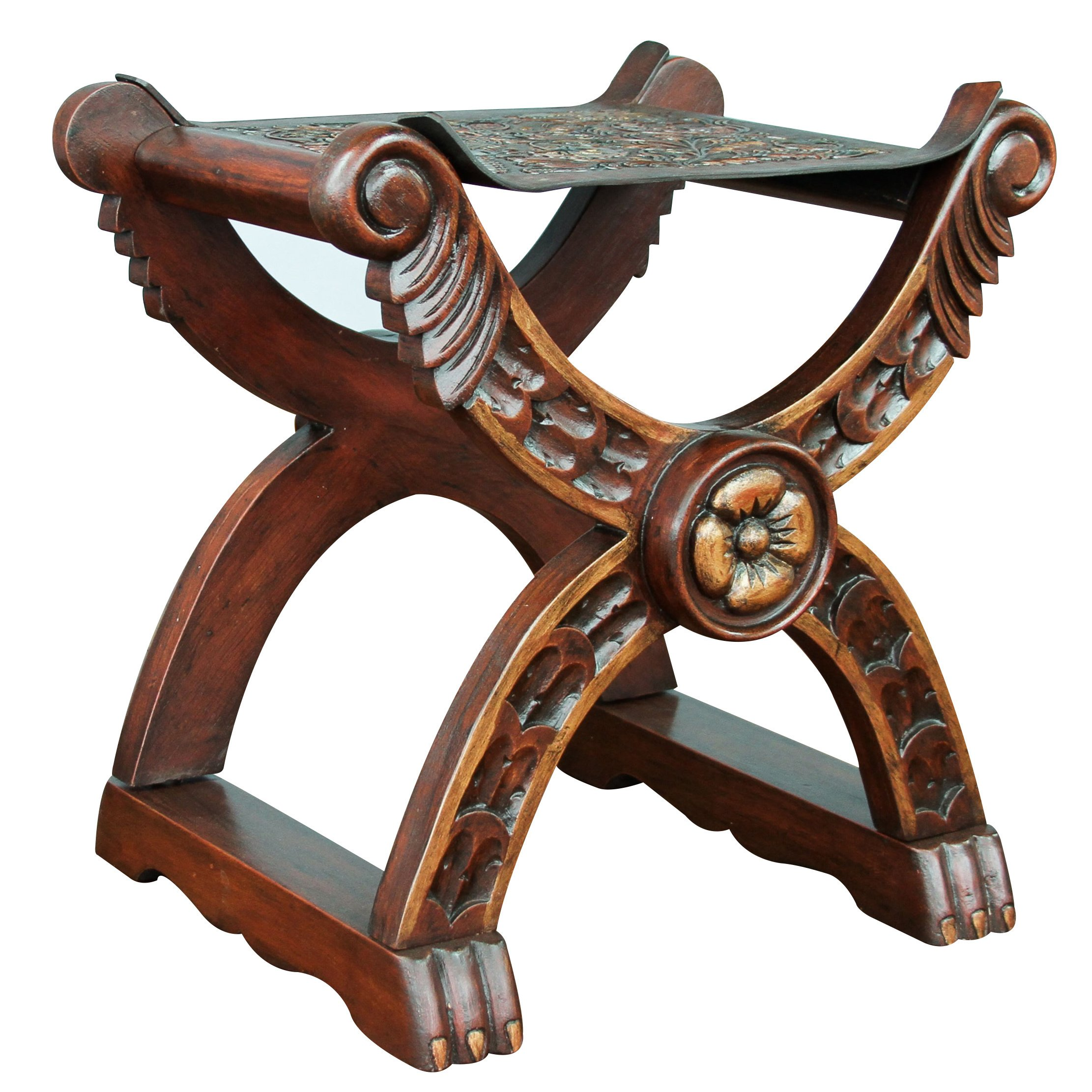handmade unique baroque richly carved claw foot brown hand tooled leather and wood decorator accent stoo table free shipping today ergonomic furniture bunnings outdoor set high