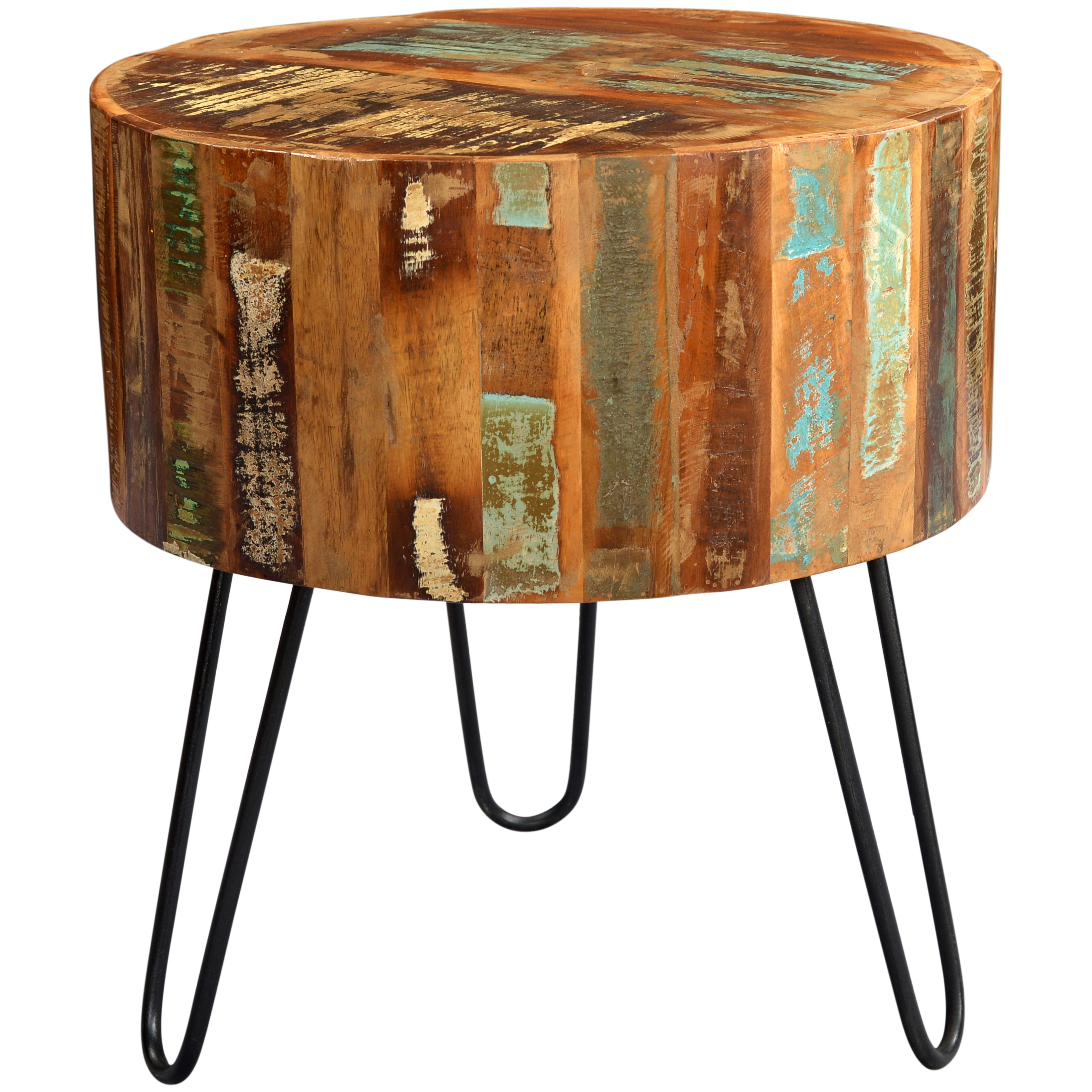 handmade wanderloot tulsa round reclaimed wood end table with hairpin legs room essentials accent walnut free shipping today marble black small red rosette tablecloth west elm