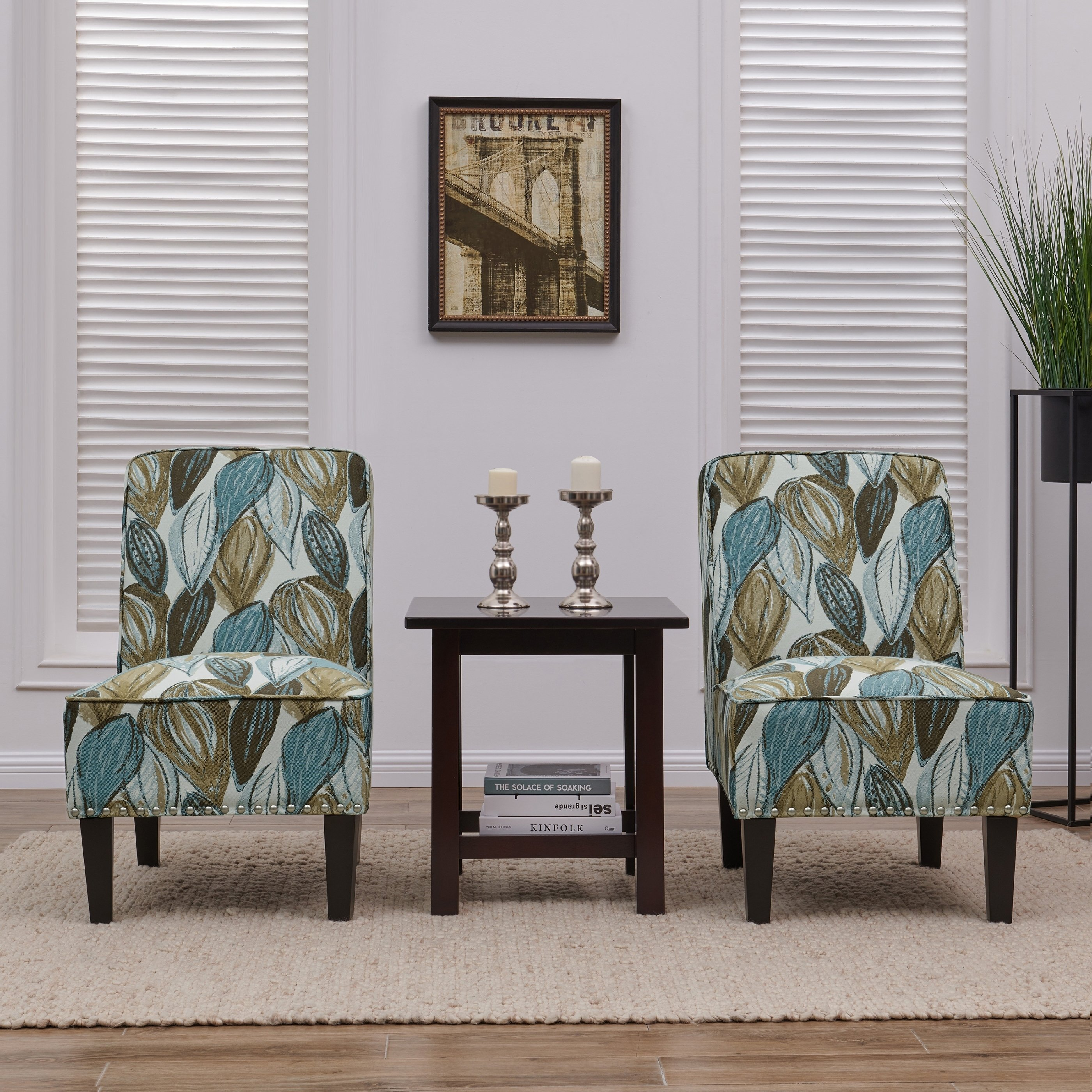 handy living brodee blue leaf armless accent chairs set chair with table room essentials hanging lights small patio outdoor rattan white gloss side country quilted runners chest