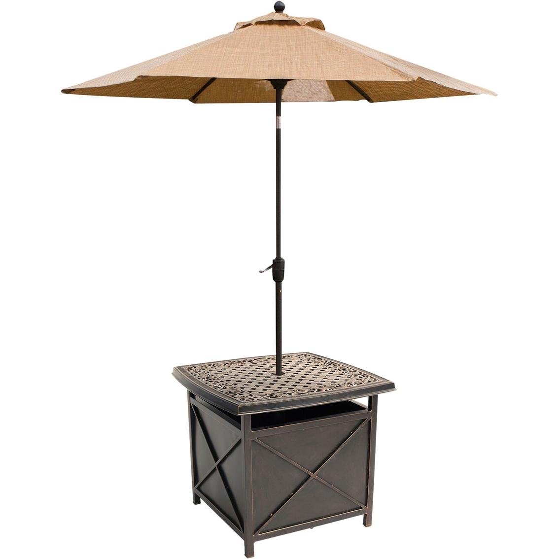 hanover outdoor traditions cast top side table and umbrella stand jacket with hood inch carsons furniture nautical tures storage for small spaces nic bunnings mainstays square