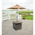 hanover outdoor traditions tradumbtbl cast top side table and umbrella stand iron frame queen tablecloth for inch round accent metal threshold cover farm style wood end turned leg 150x150