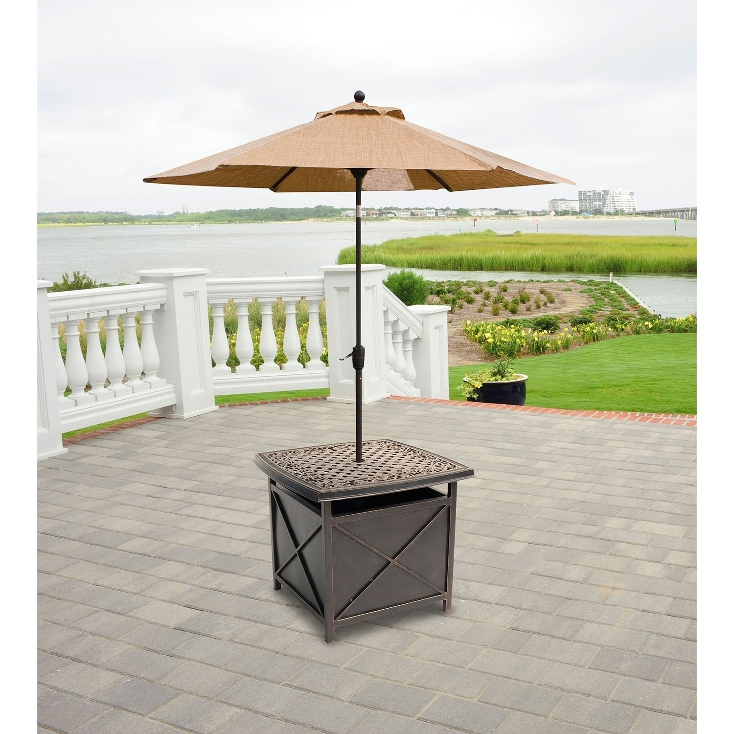 hanover outdoor traditions tradumbtbl cast top side table and umbrella stand iron frame queen tablecloth for inch round accent metal threshold cover farm style wood end turned leg