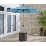 hanover round umbrella side table with tile tabletop hanumbtblrnd outdoor hanumbtbl rnd patio umbrellas baroque console bunnings couch farm style teal bedroom chair perspex cube 150x150
