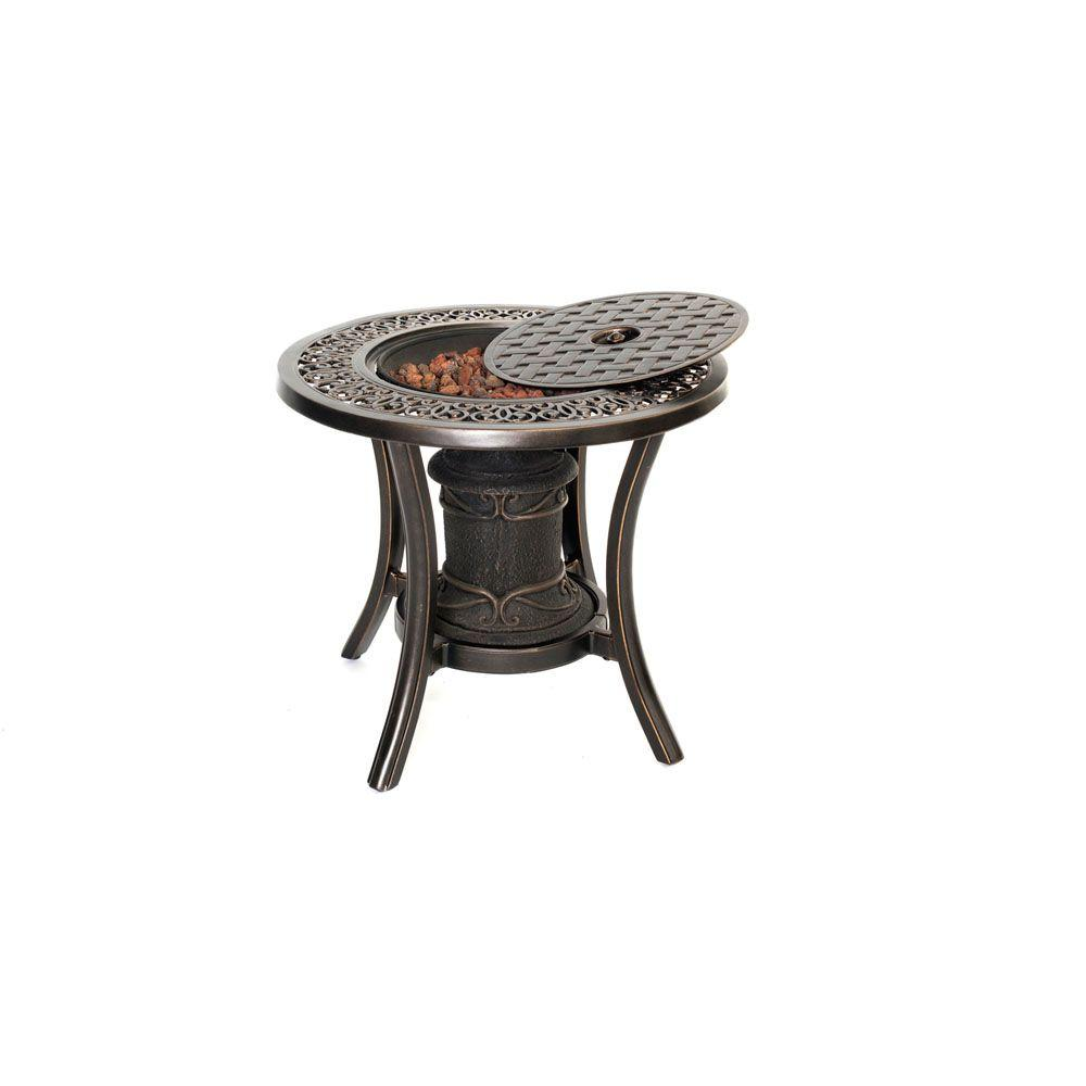 hanover traditions aluminum round patio outdoor side table with fire nic tables tradfireurn tall accent pit stein world multi drawer chest dining room placemats tray yellow