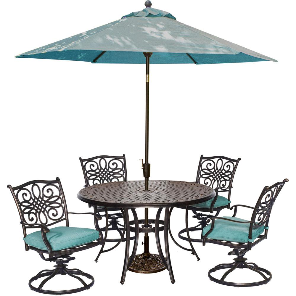 hanover traditions piece outdoor round patio dining set swivel sets spring haven umbrella accent table rockers coffee mat glass and chrome side wood stand alone garden supplies