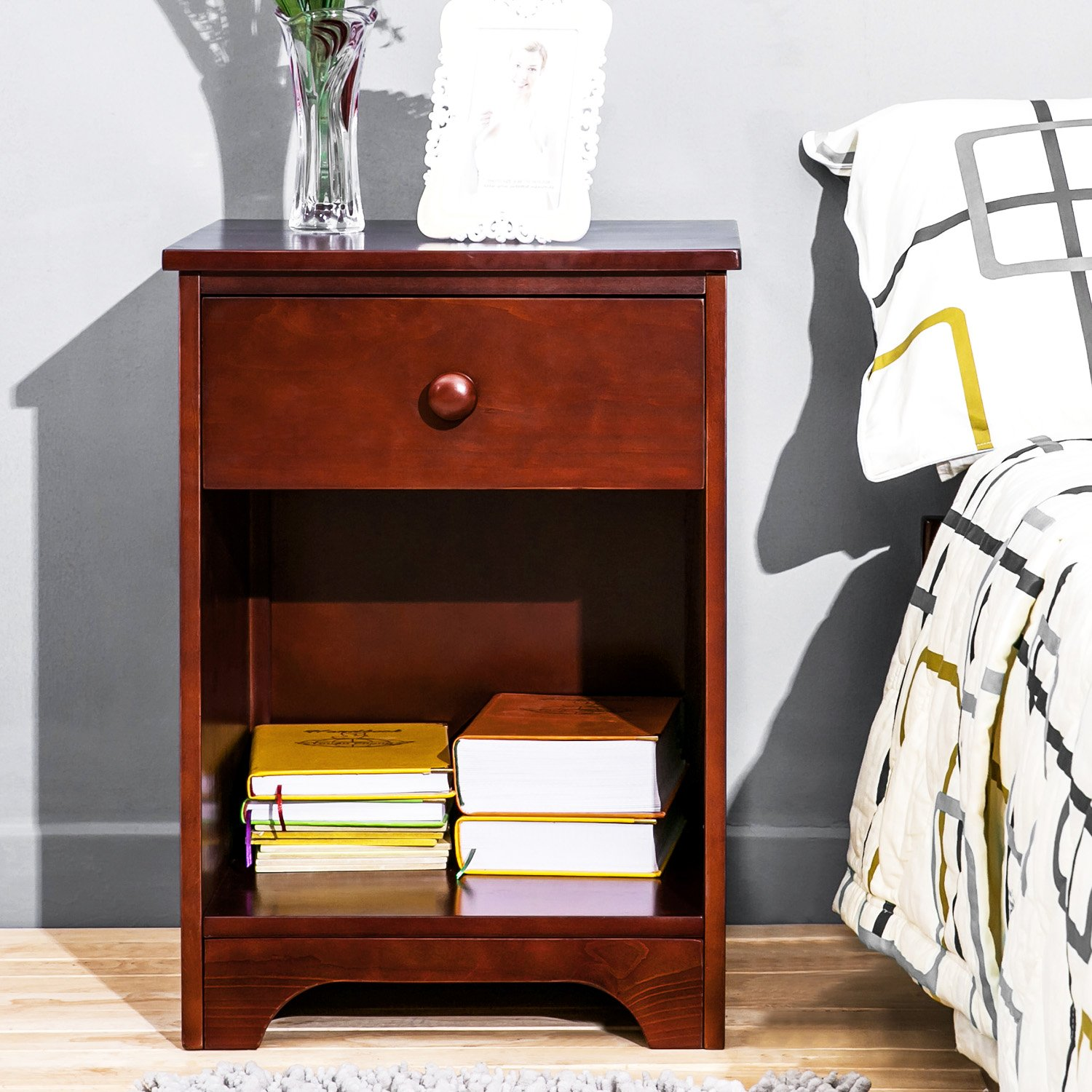 haper bright designs wooden accent table nightstand ectool eugene walnut side with storage shelf and drawer for bedrooms finish kitchen dining nautical pole lamps armless chair