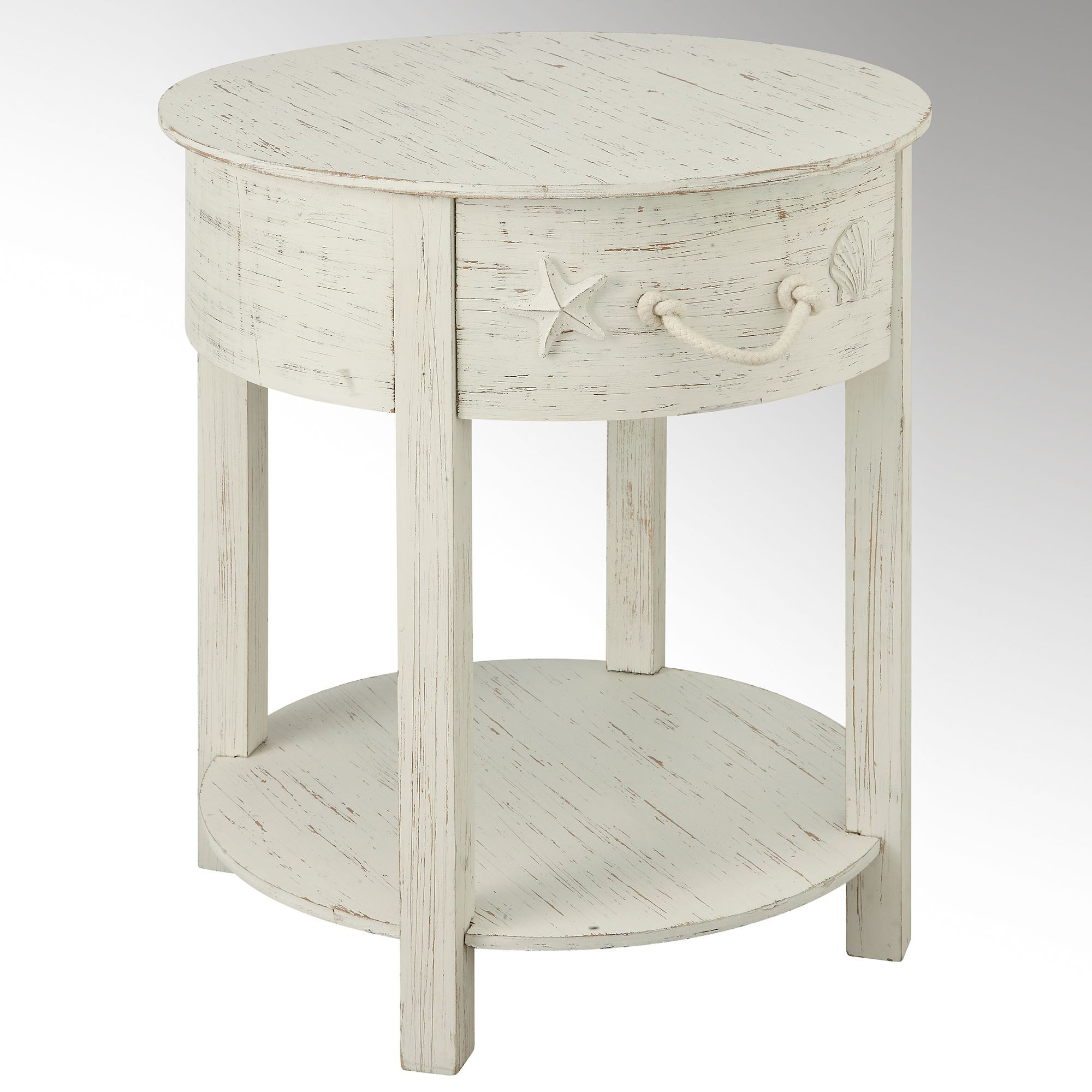 harbor main distressed white coastal accent table round with screw legs small entryway cabinet ludwig drum set floor threshold transitions retro nest tables pottery barn black