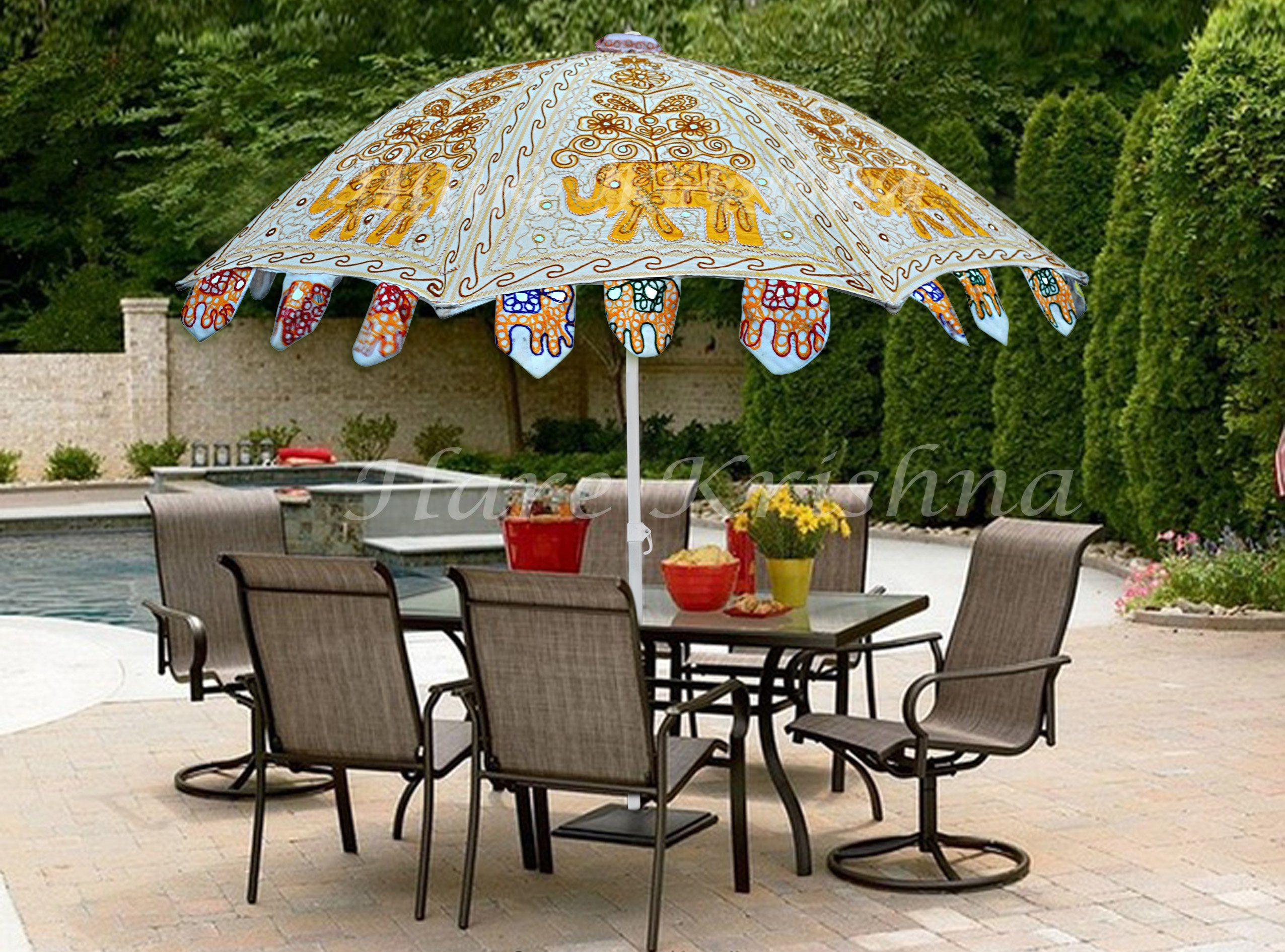 hare krishna large garden parasol round outdoor resort umbrella spring haven accent table inches occasional chairs next sei mirage mirrored stainless steel ceiling curtain rod