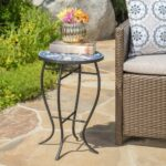 harington outdoor blue white ceramic tile iron frame side table night stand black round coffee green patio foyer best drum throne entryway with storage furniture dining room sets 150x150
