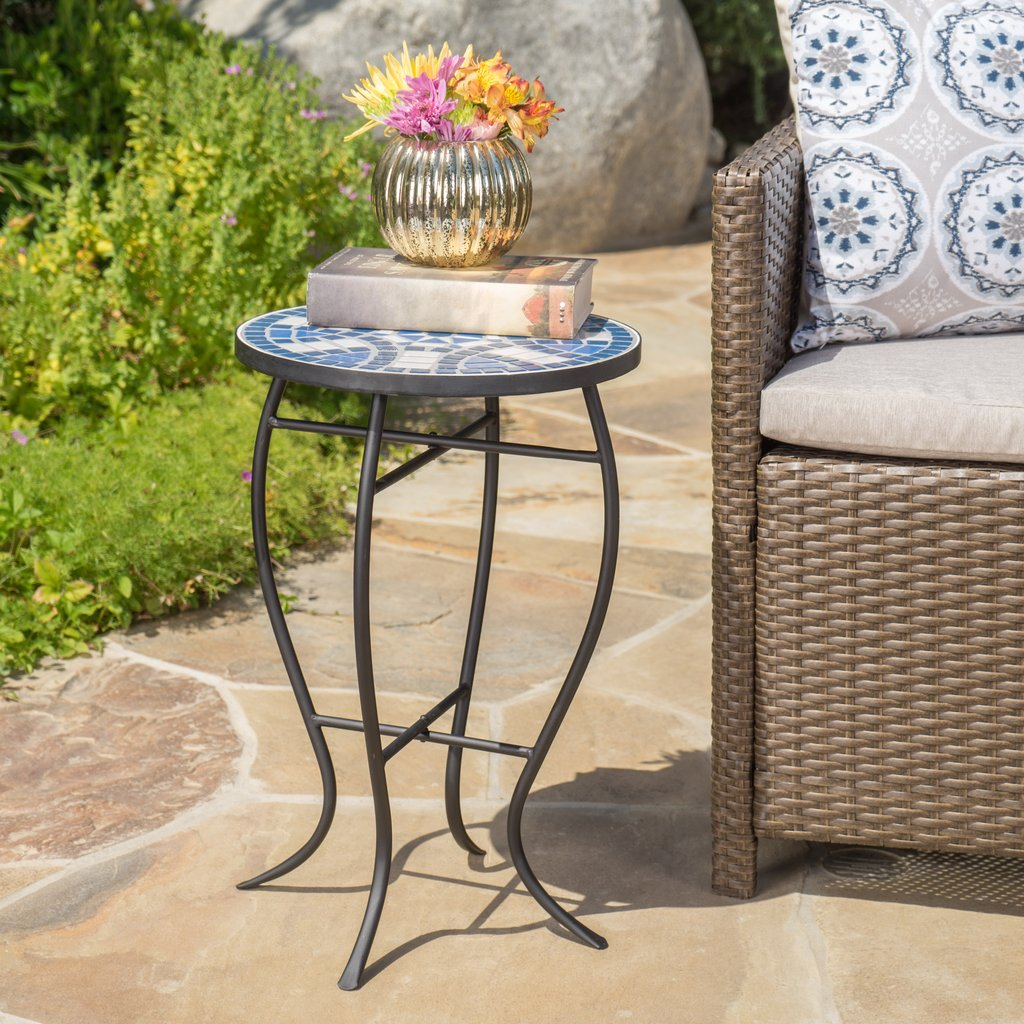 harington outdoor blue white ceramic tile iron frame side table night stand black round coffee green patio foyer best drum throne entryway with storage furniture dining room sets