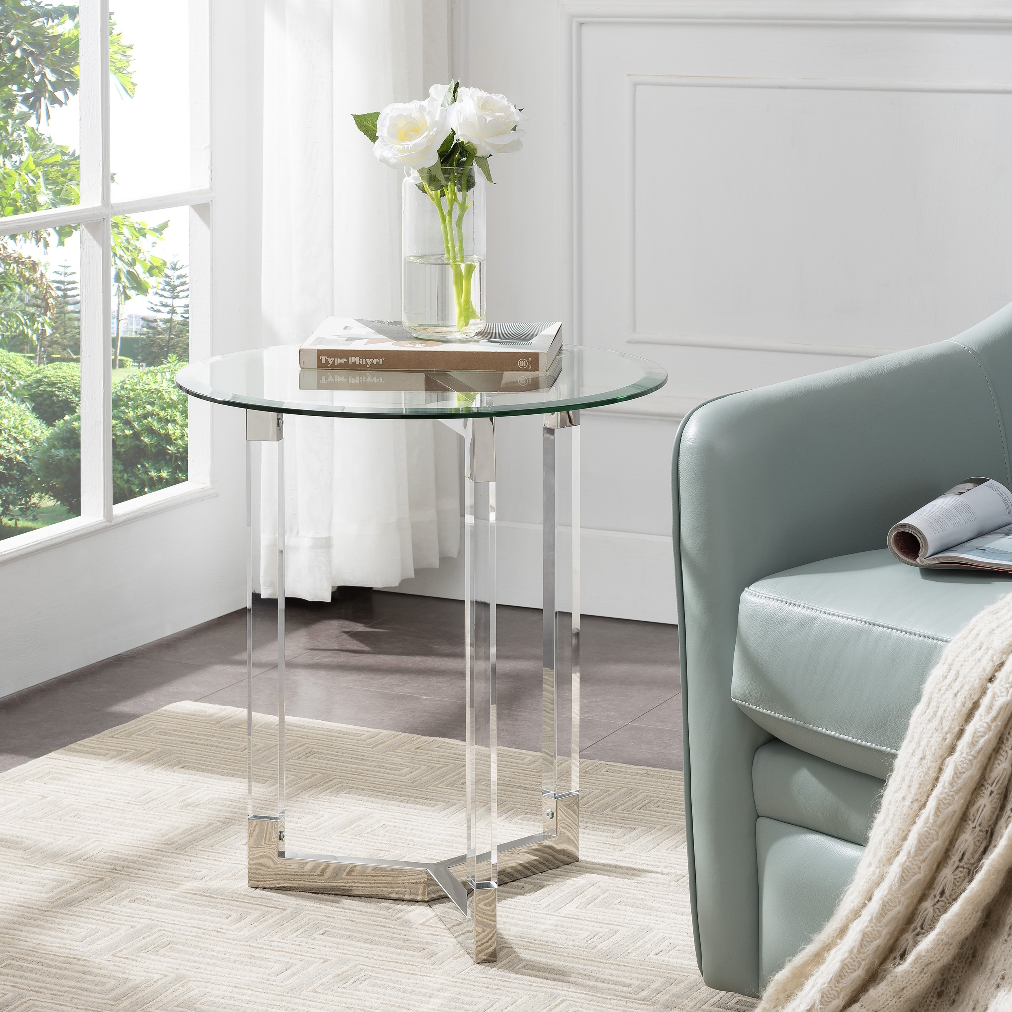 harper blvd dauphine round acrylic accent table with glass top free shipping today high stools wine rack cabinet insert marble dining slim end tables target rolling tool box