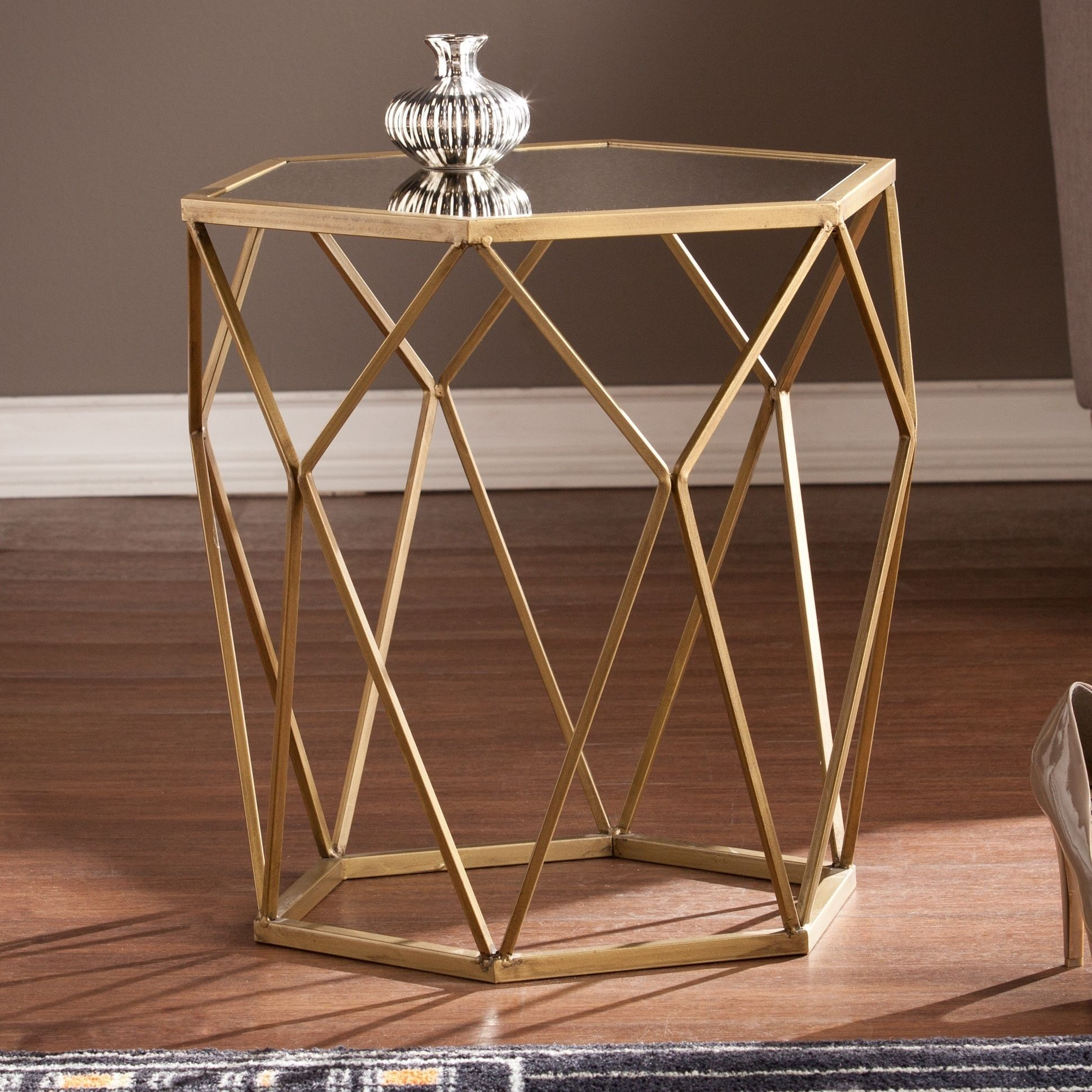 harper blvd judy geometric gold accent table round rolling tool box adjustable height side dark wood nightstand with drawers room essentials cups island bar stools high top carpet