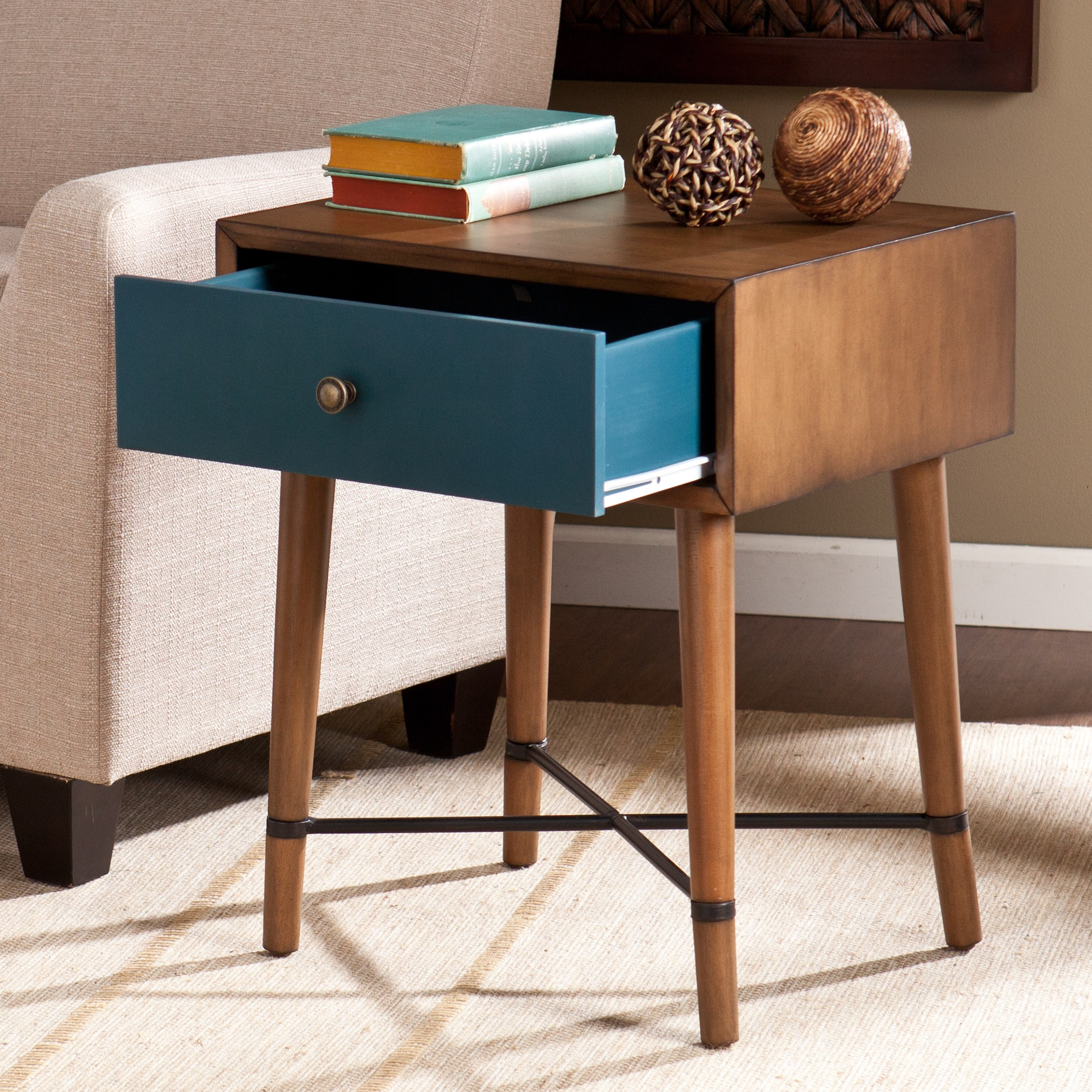 harper blvd niles blue accent table free shipping today drum tables living room target threshold furniture bench mirror design half console west elm industrial coffee porcelain