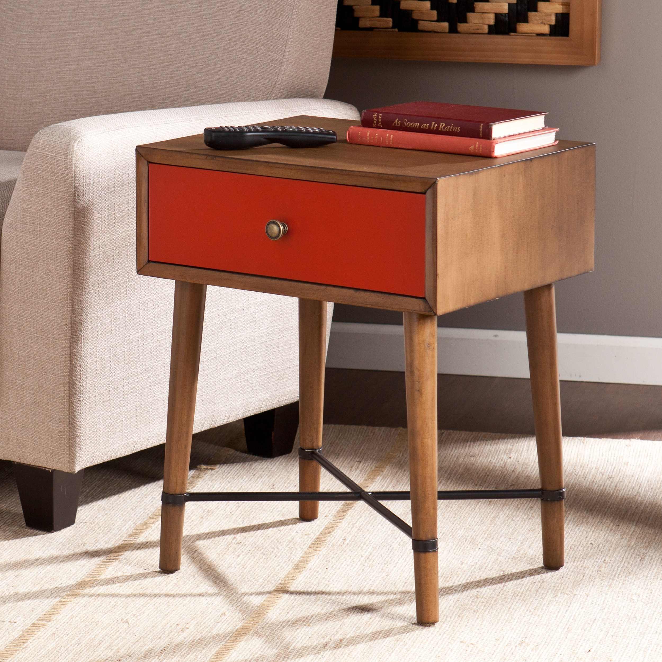 harper blvd niles red accent table free shipping today wood rustic couch inch round tablecloth white rectangle coffee side with drawers living room lateral file cabinet chic end