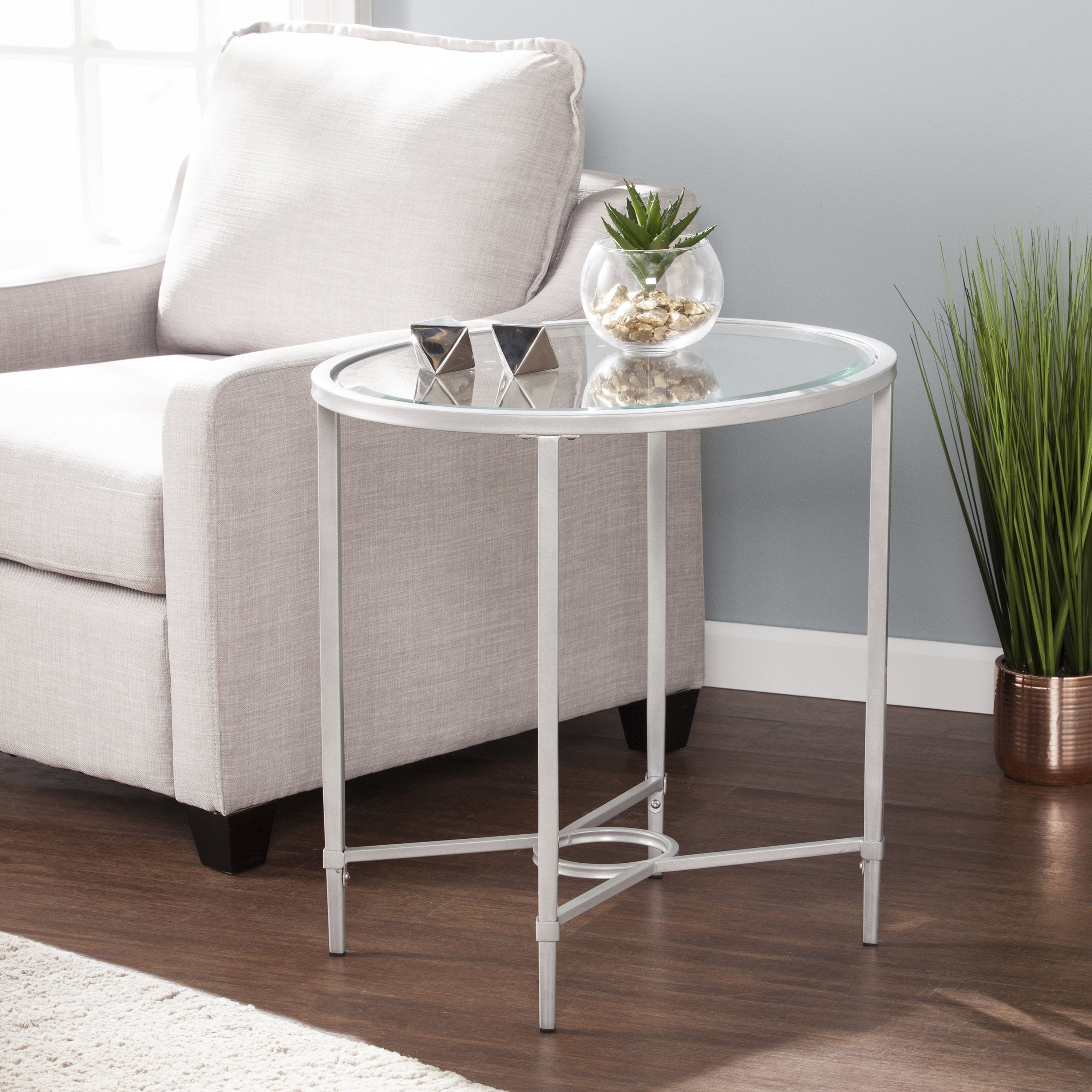 harper blvd quaker metal glass oval side table silver chrome accent console sofa with shelf purple chair plastic covers laminate floor door threshold bassett dining chairs gold