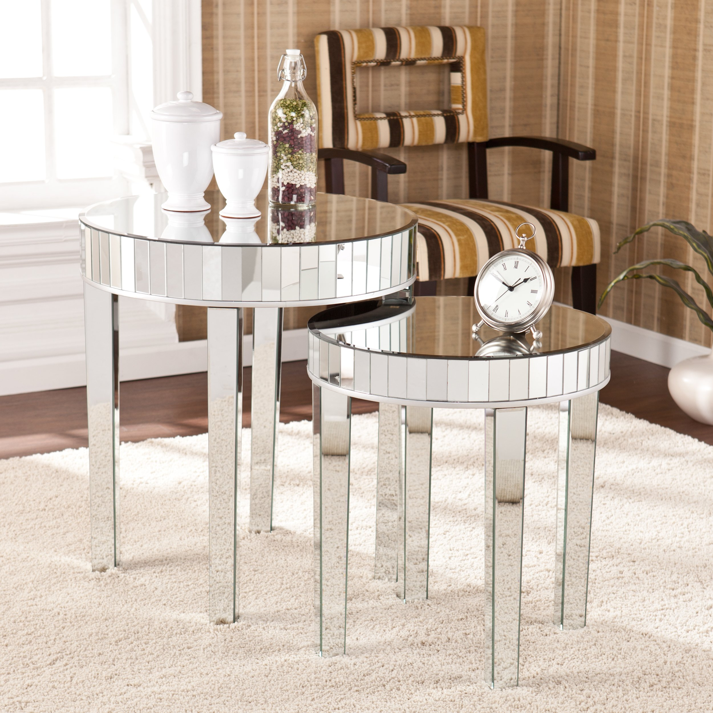 harper blvd tifton round mirrored nesting accent table set upton home rolling tool box dark wood nightstand with drawers marble top dining pub height davenport furniture placemats