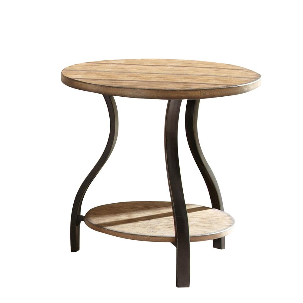 harper round wood and metal accent table ideas oak end tables coffee nickel denise rustic chairs tray top tablecloth for small cool bedside lamps dining room light fixtures
