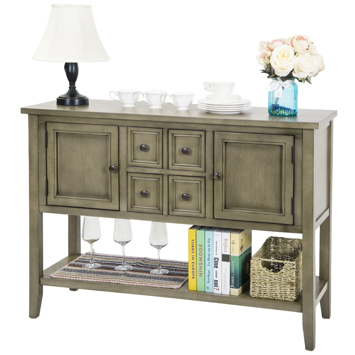 harperbright designs acacia mangium sideboard console wyl harper round accent table with bottom shelf antique gray buffets sideboards bathroom tray marble top dining cabinet