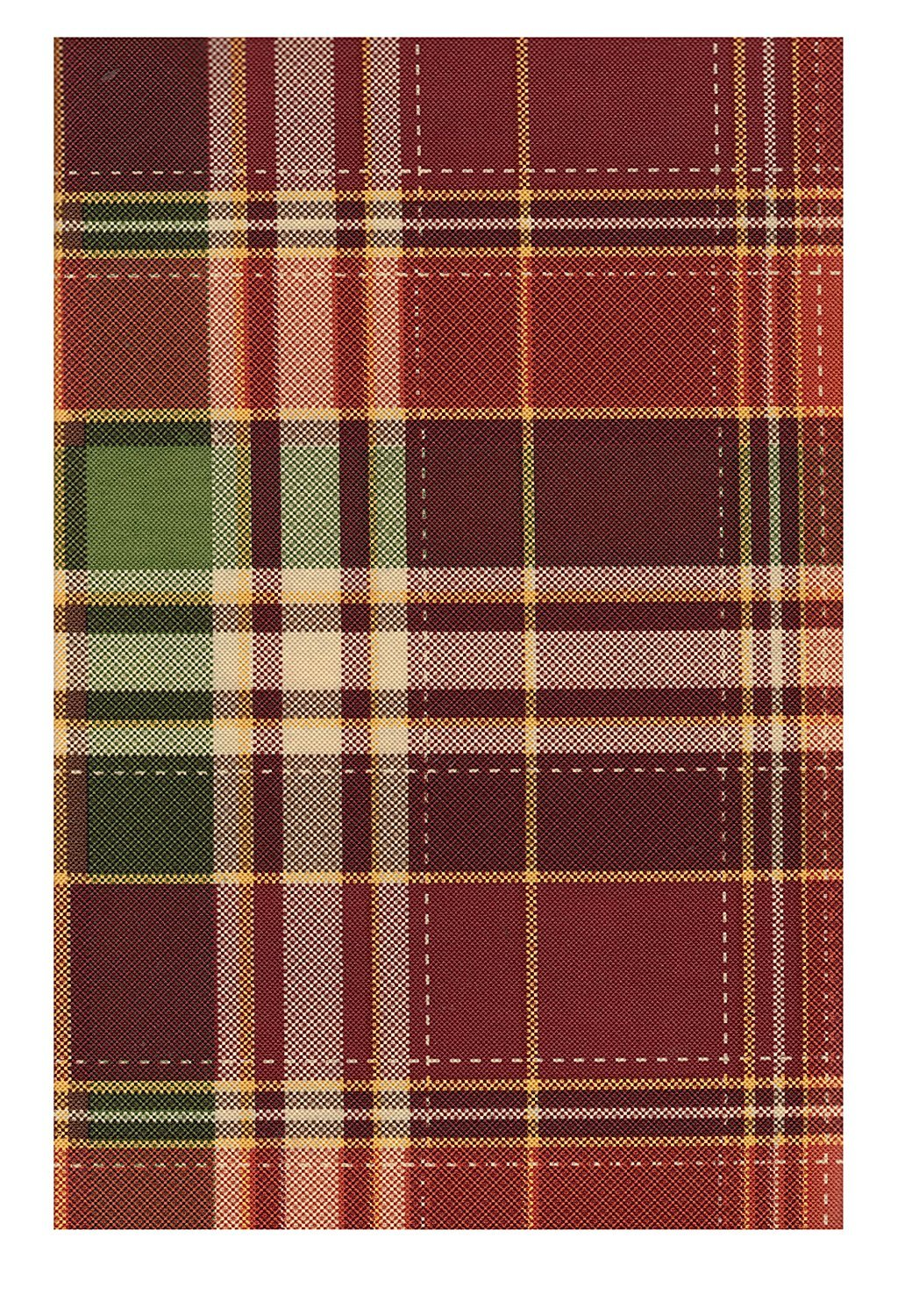 harvest plaid autumn peva vinyl tablecloth flannel round accent backed home kitchen low coffee table with drawers distressed wood holiday runner mosaic tile bistro and chairs very