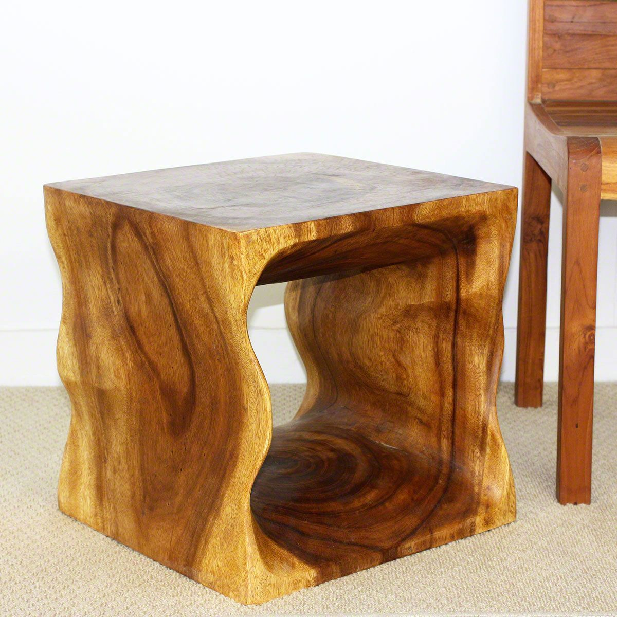haussmann handmade oak oil acacia wood cube end table accent livos natural and clear brown pilgrim furniture patio umbrella hole insert narrow console rain drum floating living