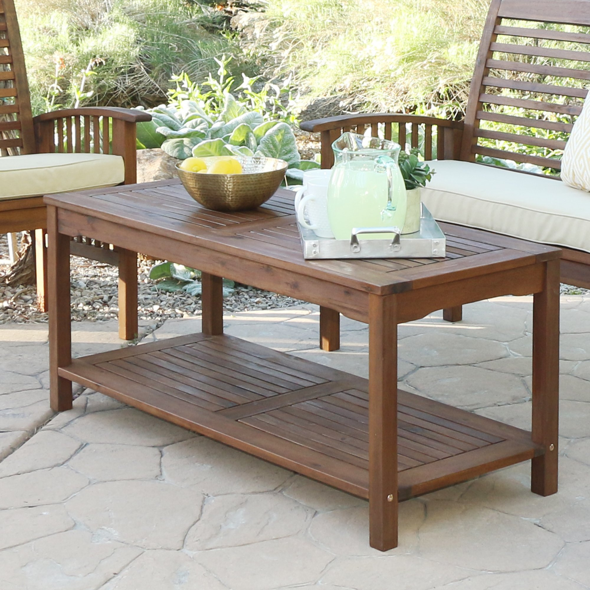 havenside home surfside acacia outdoor coffee table dark brown side and chairs free shipping today glass tables cherry small mosaic set patio console dining with leaf battery