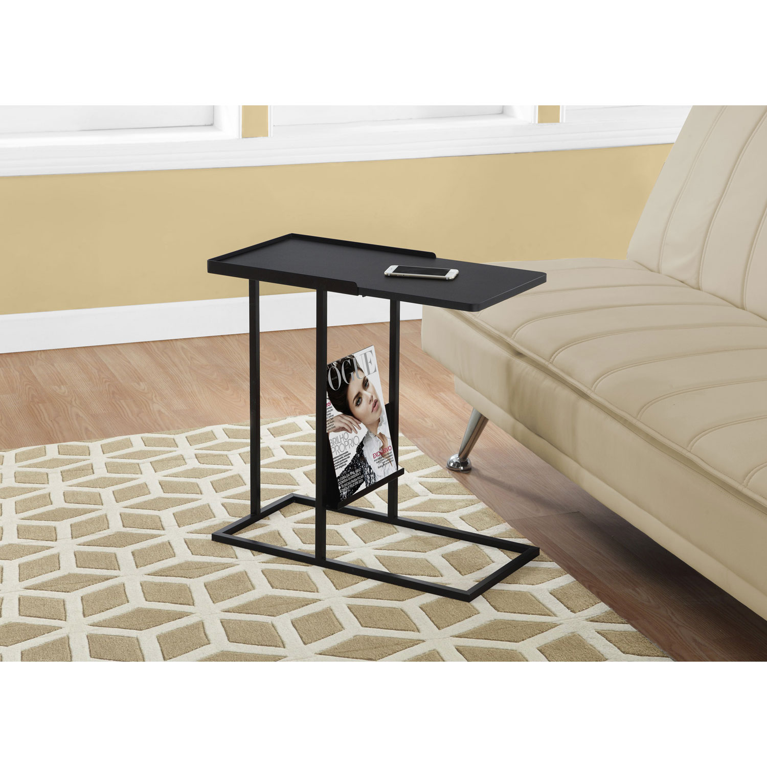 hawthorne ave accent table black metal with magazine rack holder hover zoom coastal lamps white ceramic side target bedside glass door cabinet top coffee doors battery operated