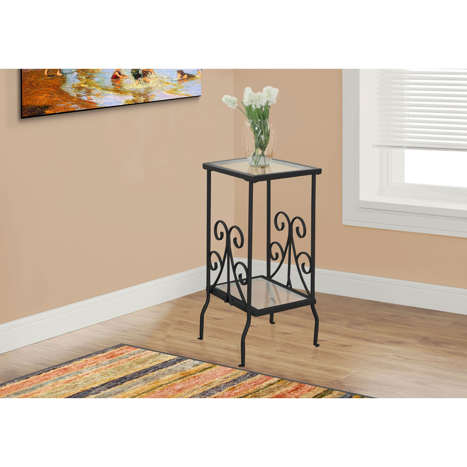 hawthorne ave accent table black metal with tempered glass top bronze hover zoom round tables industrial wood side decorative chest living room small mirrored nightstand winsome