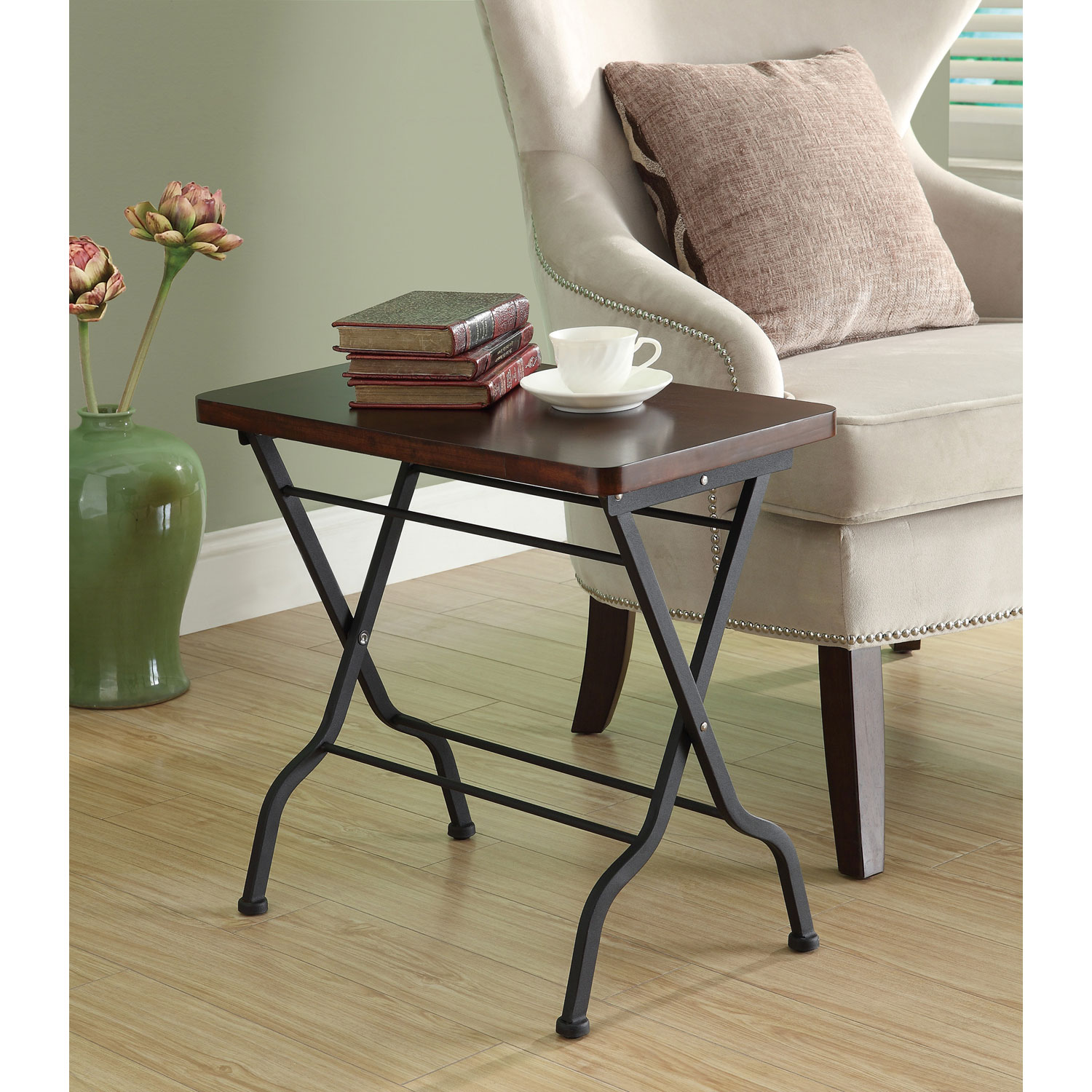 hawthorne ave accent table cherry charcoal black metal folding hover zoom white half moon console zebra chair tall chairs target yellow side wall lucite dining room pulaski