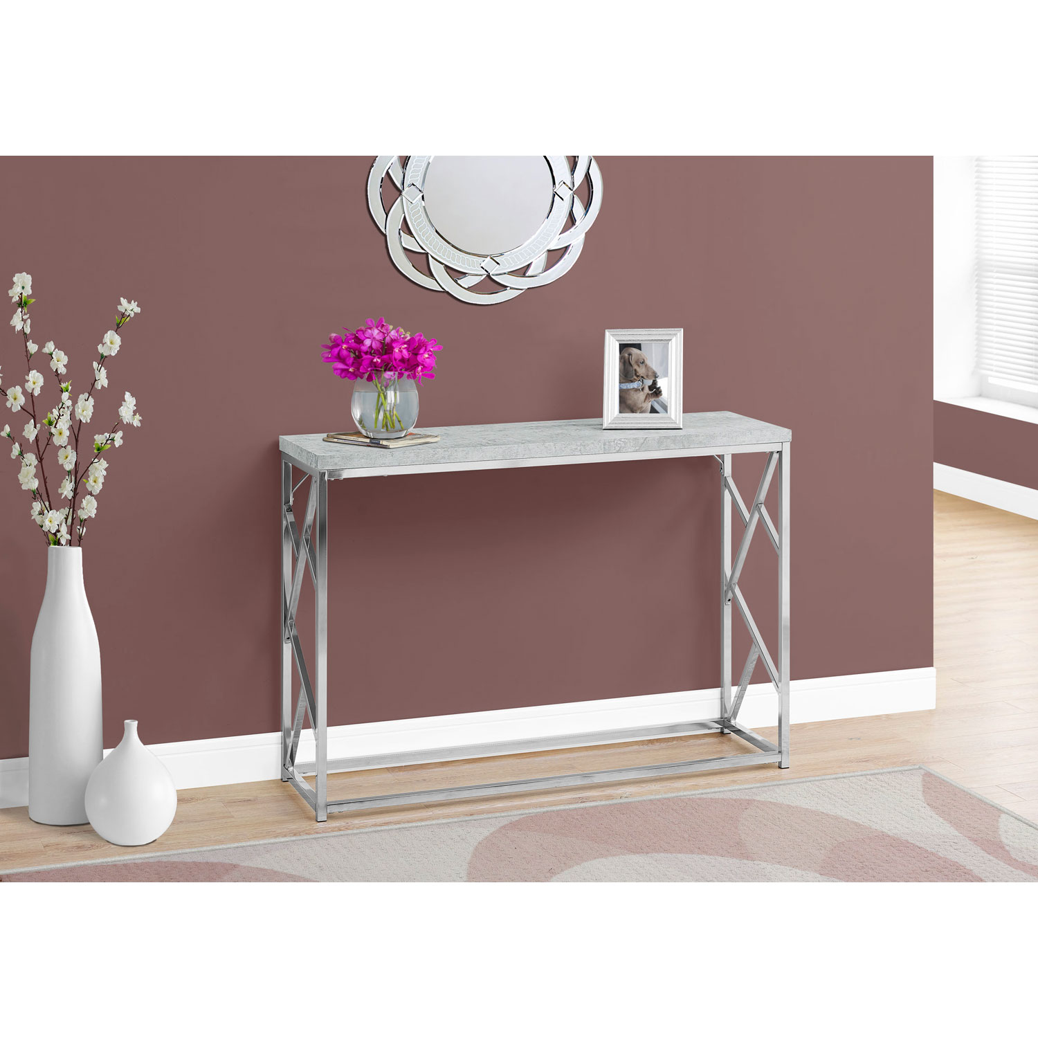 hawthorne ave console table grey cement with chrome metal glass top accent bronze hover zoom winsome wood end round industrial lamp base threshold fretwork brass cordless floor