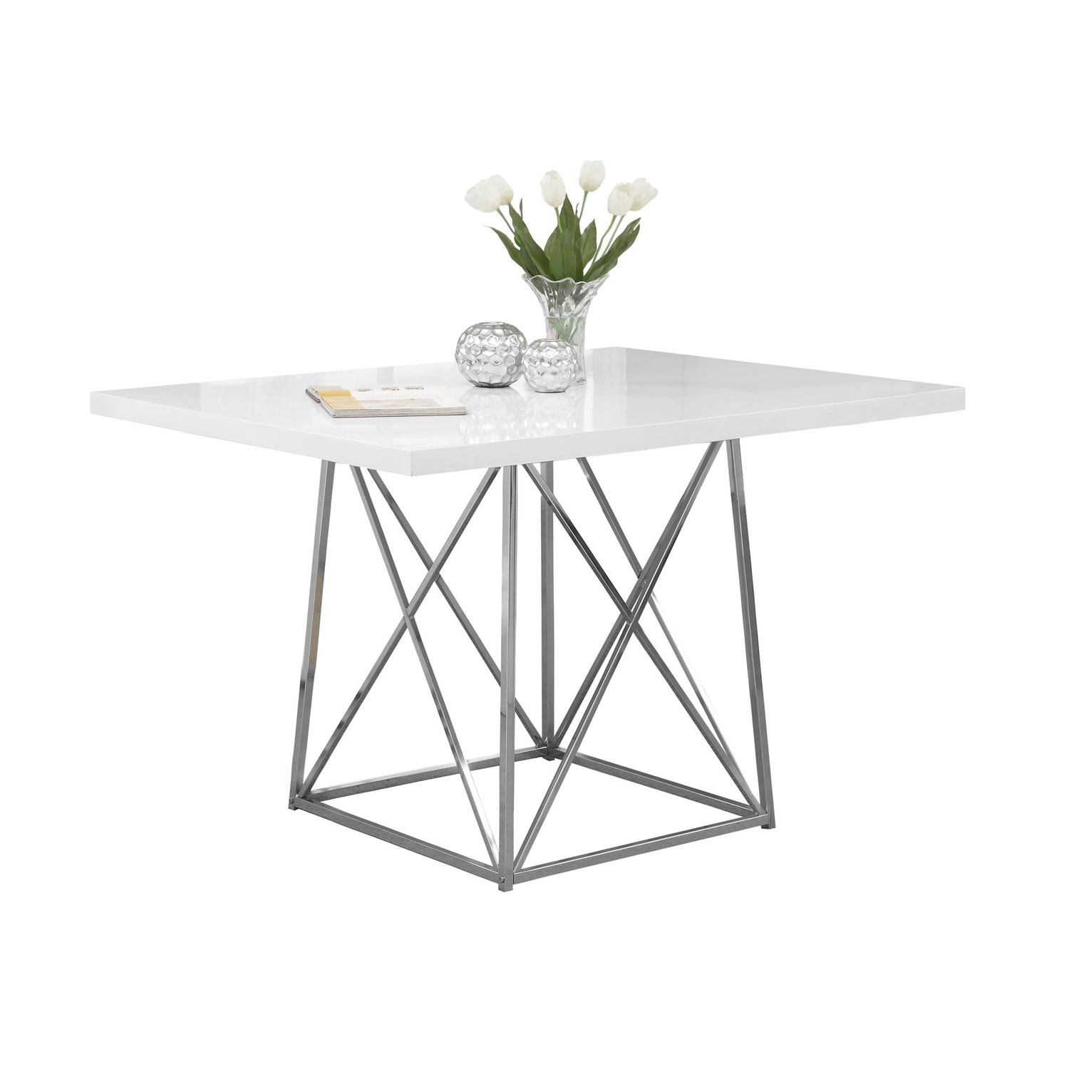 hawthorne ave dining table white glossy chrome metal bellacor glass top accent bronze hover zoom ball lamp round living room wood small inch hairpin legs square patio cover