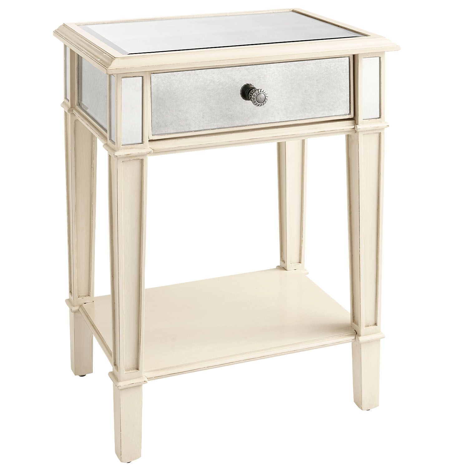 hayworth mirrored antique white nightstand pier imports accent table willow furniture bags patchwork runner patterns small wood coffee lamps sydney little powell espresso round