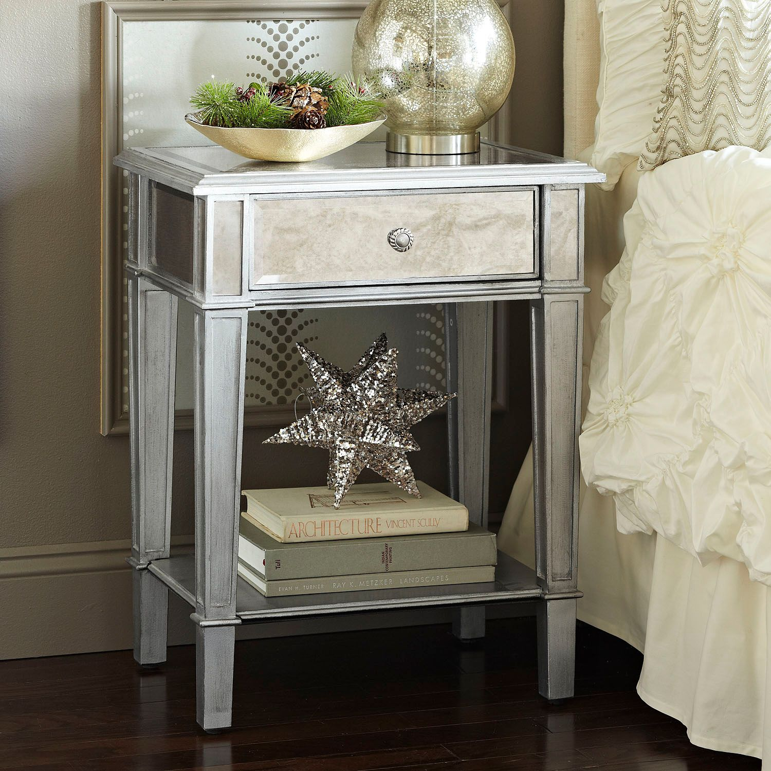 hayworth mirrored silver nightstand pier imports accent table collection lamp shades for floor lamps solid wood farm glass pedestal cool retro furniture dining set outdoor iron