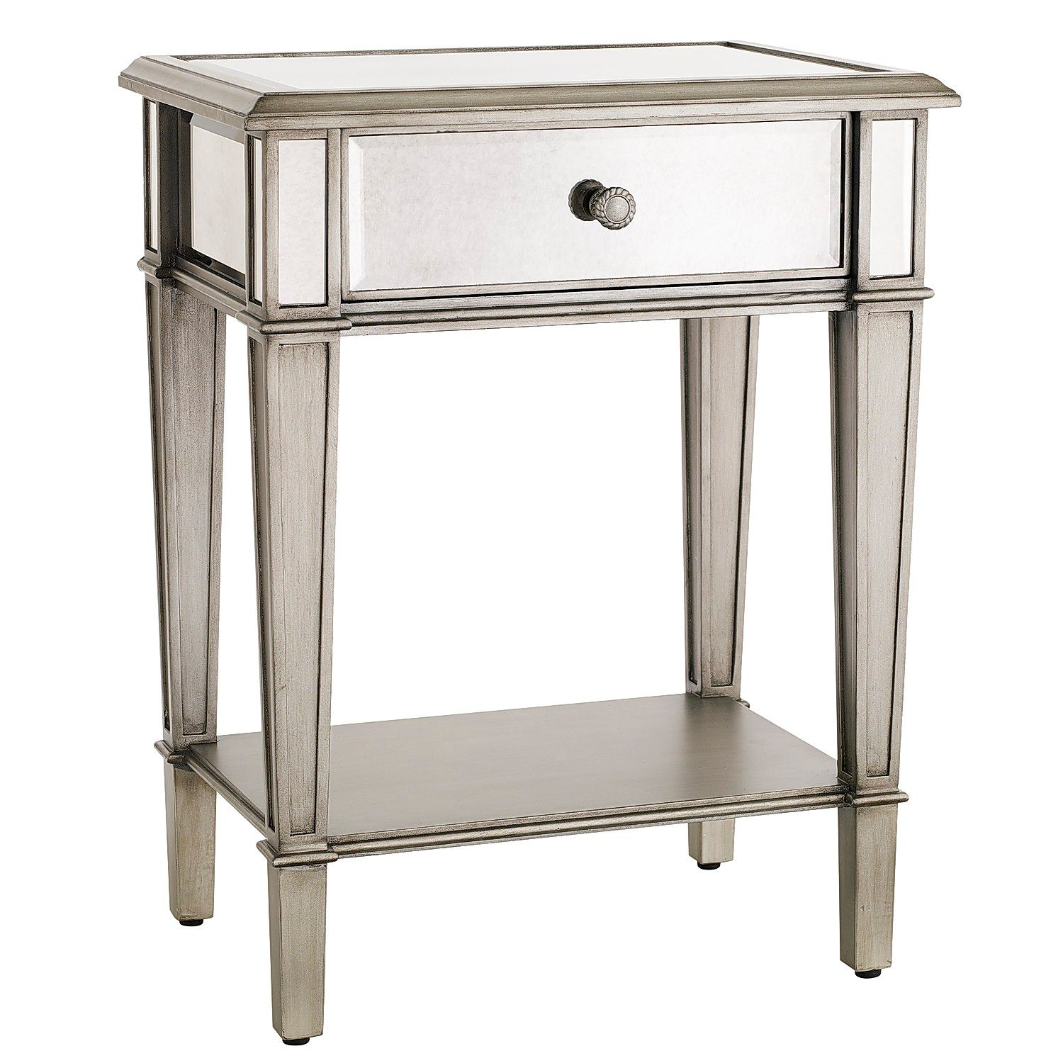 hayworth mirrored silver nightstand pier imports glass accent table with drawer top mimosa outdoor furniture patio nic wireless lamps small gas grill target fur pillow side coffee