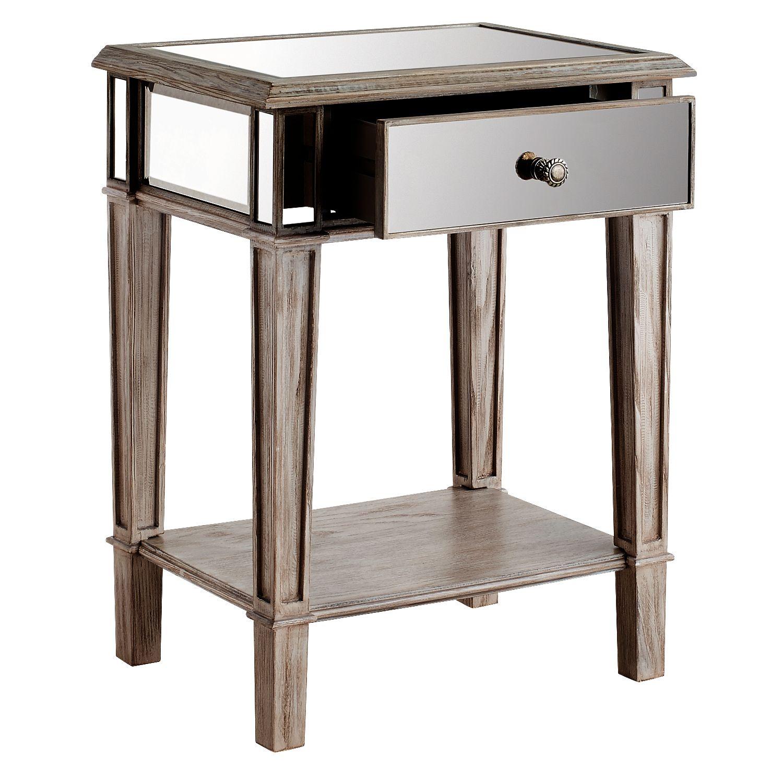 hayworth mirrored weathered oak nightstand pier imports accent table outdoor iron side antique round willow furniture modern glass coffee target futon mattress ikea base safavieh