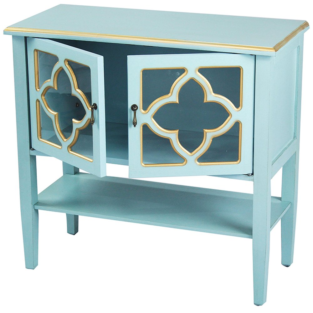 heather ann creations modern door accent console gold table cabinet with pane clover glass insert and bottom shelf blue trim kitchen dining unique entryway tables stackable