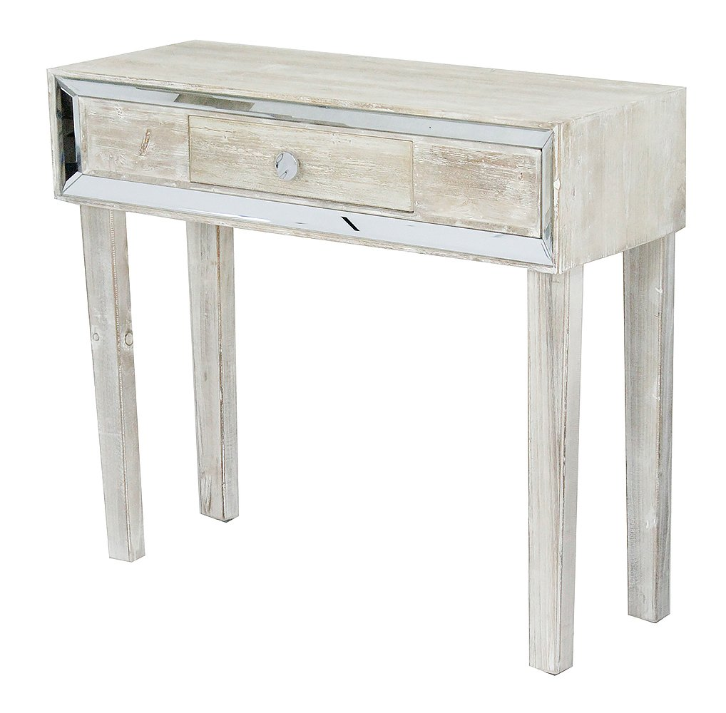 heather ann creations tall white wash avery glass top accent table collection elegant single drawer entryway desk console with clear mirror black and silver bedside lamps ethan