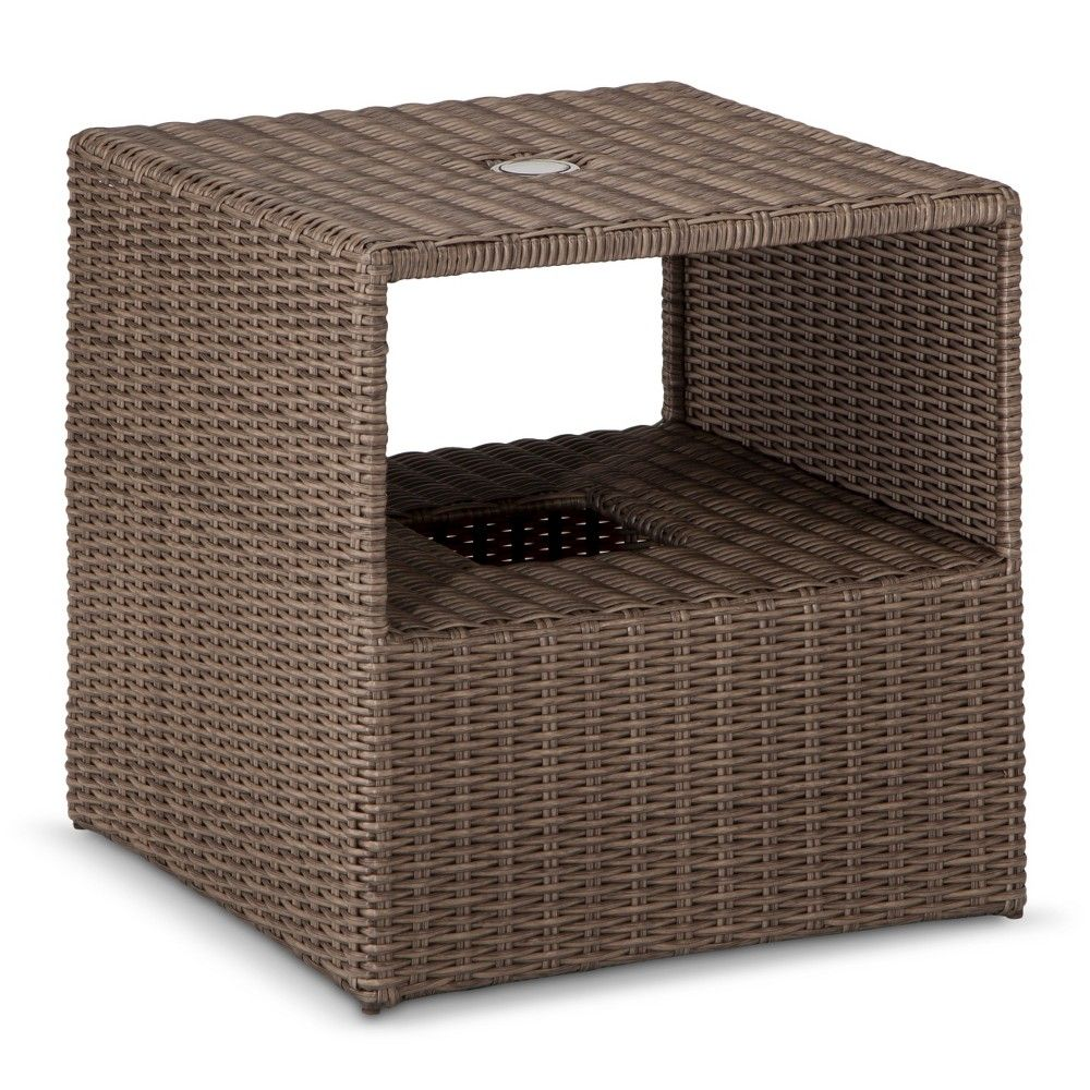 heatherstone wicker patio umbrella side table threshold products outdoor cabinets and chests drawers cabinet furnishings industrial metal bedside folding nic bunnings coffee