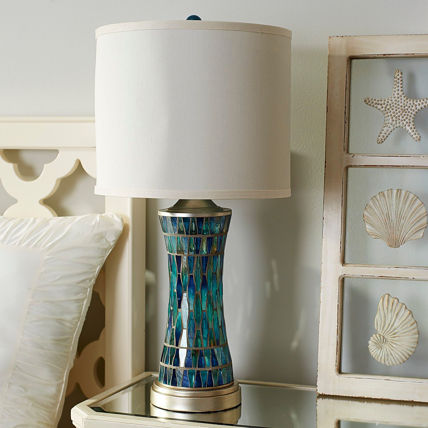 helena blue mosaic table lamp pier imports one accent lamps small console cabinet dining with six chairs that use batteries ikea storage baskets silver metal dale tiffany