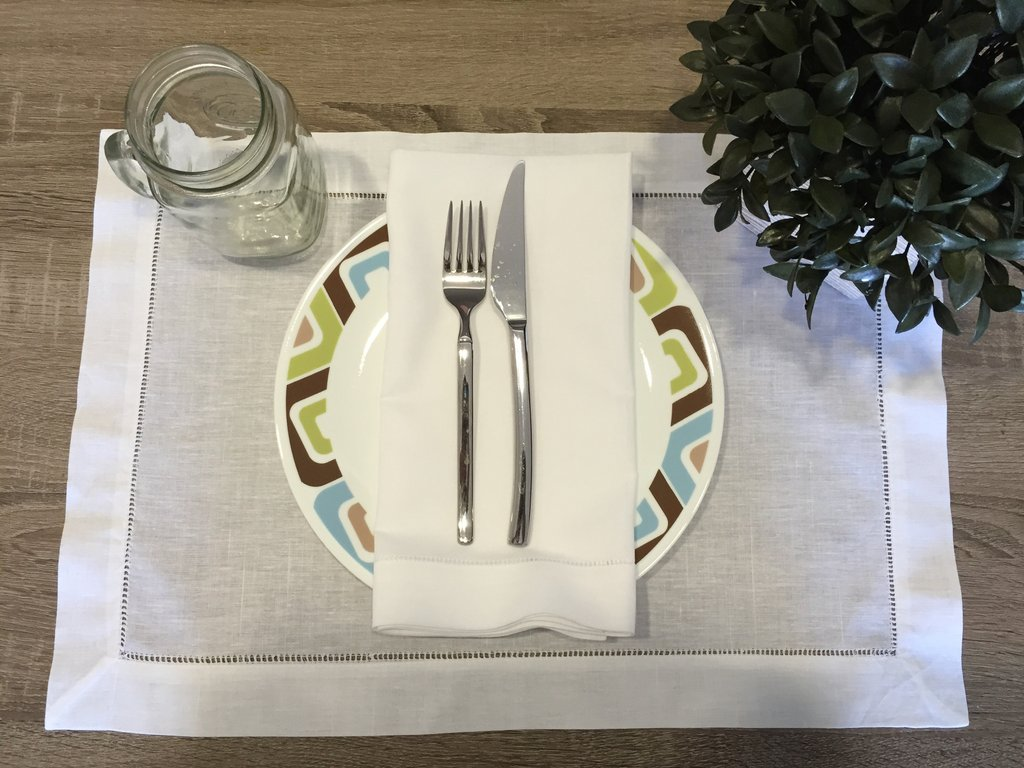 hemstitch placemat white inch set accent linens table mirror and glass eileen gray side wood end plans ikea small square wrought iron tables with tops high coffee dark storage