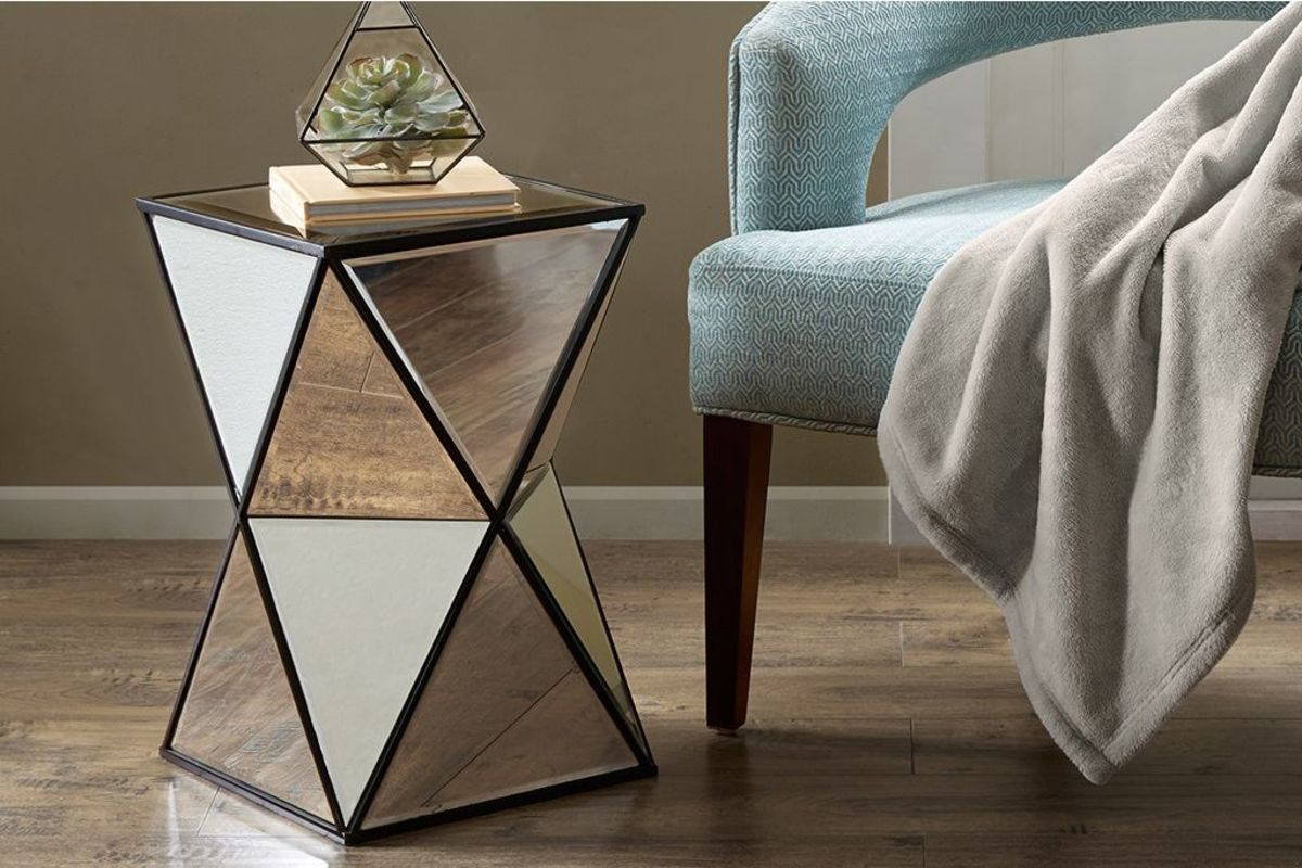 hendrix angular mirror accent table madison park gardner white metal share chairs from pier one imports safavieh treasures old coffee replica retro furniture wood drum high top