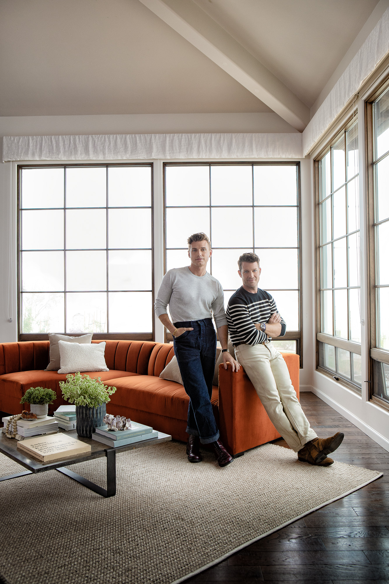 here great painted drum side table nate berkus jeremiah brent living spaces tibetan accent and debut furniture line inspired their own home gold floor lamp whitewash sofa bench