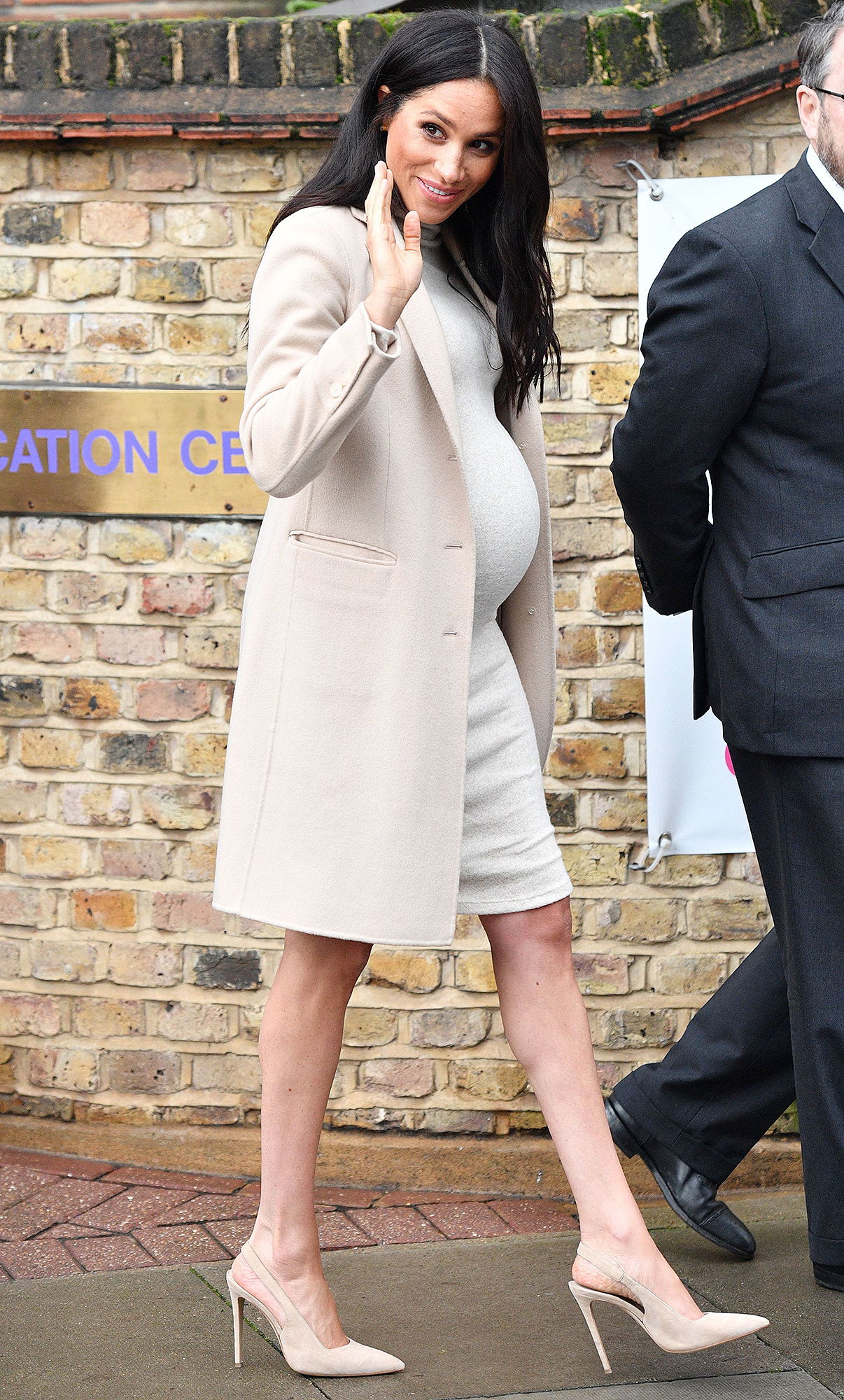 here great winsome wood sasha accent table white meghan markle round just wore the cutest maternity dress and only rustic coffee toronto free end tables patio drink large outdoor