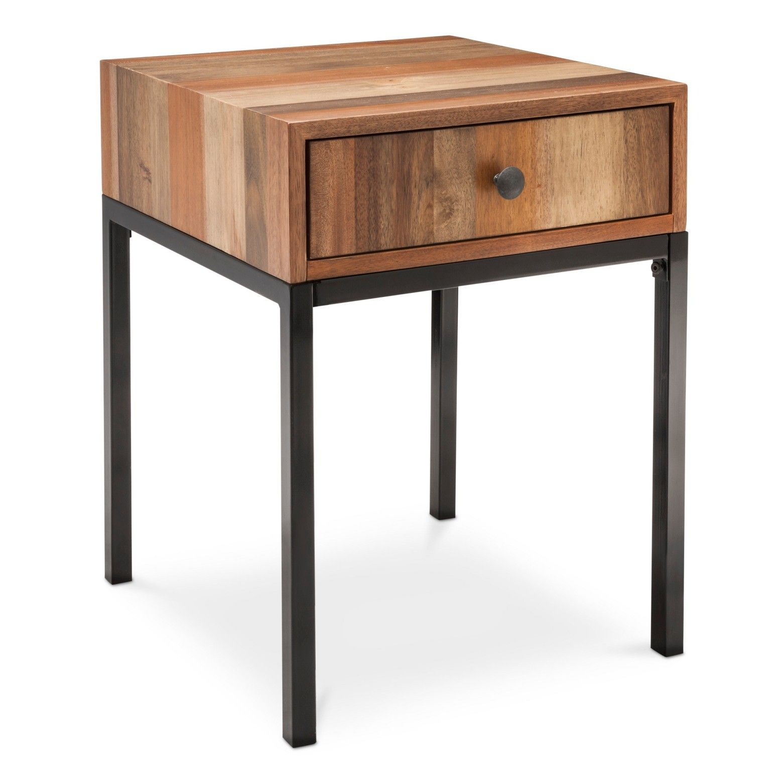 hernwood mixed material side table brown threshold products accent for the perfect mix style and function from your decor this brings cool club chair black mirrored nightstand