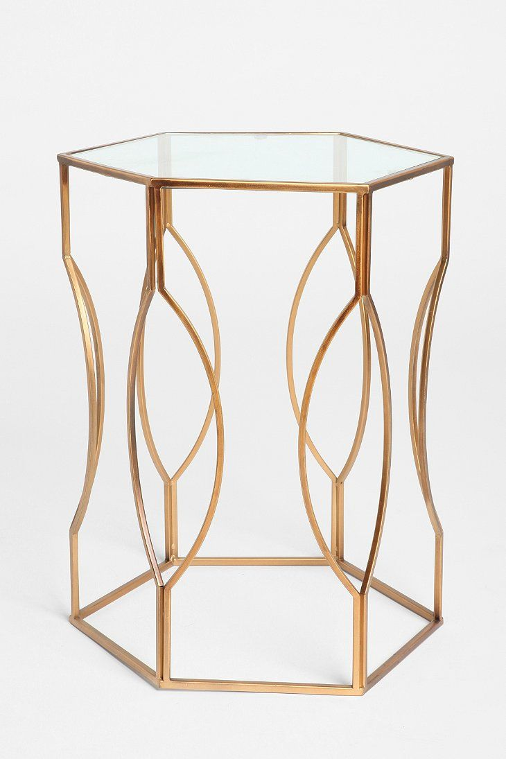 hexagon side table sides living rooms and montrez gold accent like this weird think actually departure from the norm small mirrored desk ceramic patio granite cocktail tiffany