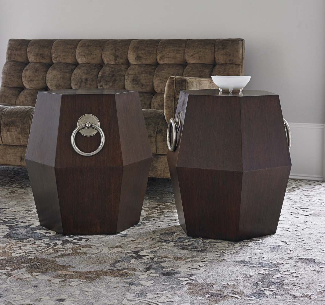 hexagonal accent table dark western cocktail and end tables unique piece made american walnut with rich finish polished nickel pulls inch high nightstand small hall chest sofa