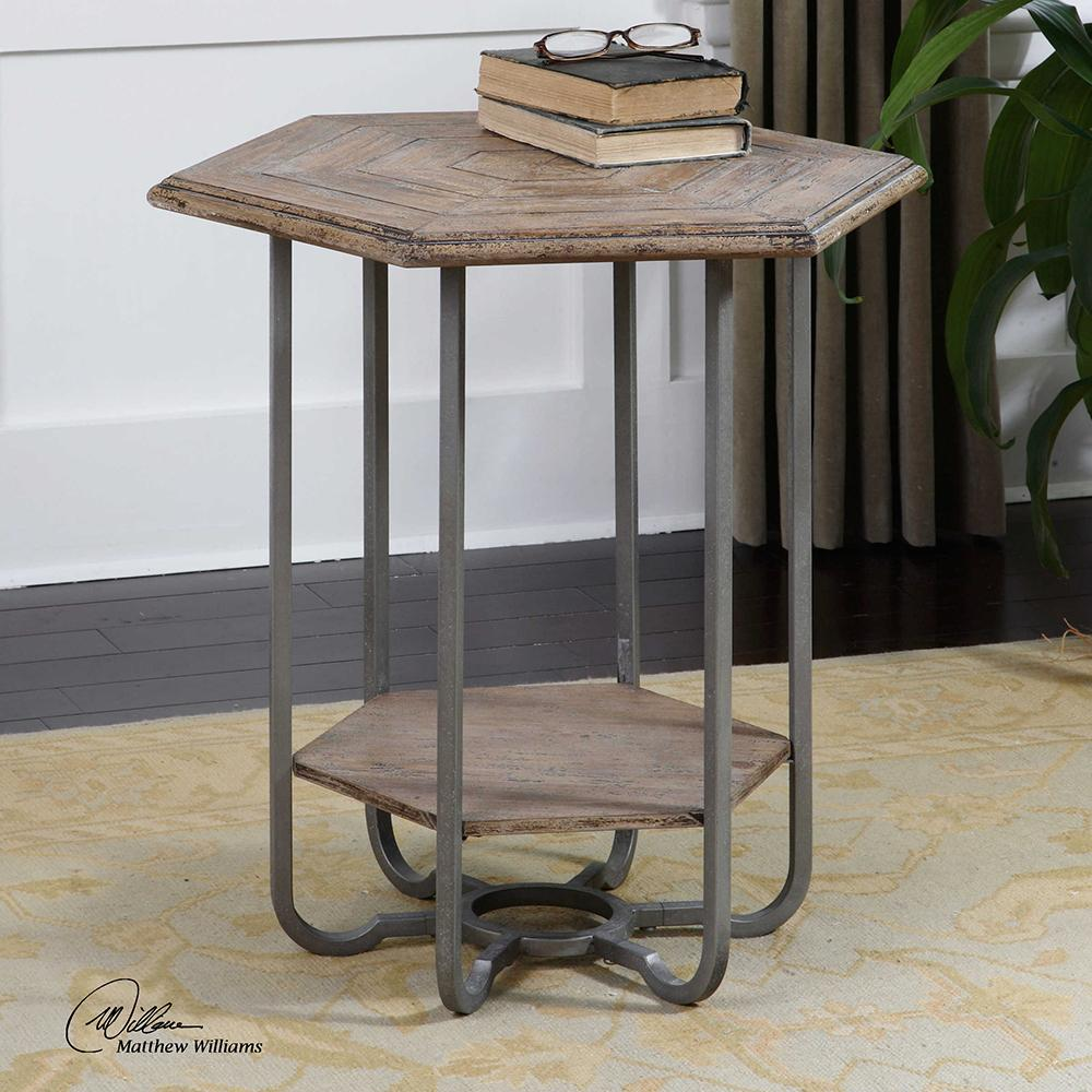 hexagonal weathered wood iron accent table gray small side drink mat for dining ashley furniture bar height white end with storage brass mission folding nic bunnings marble like